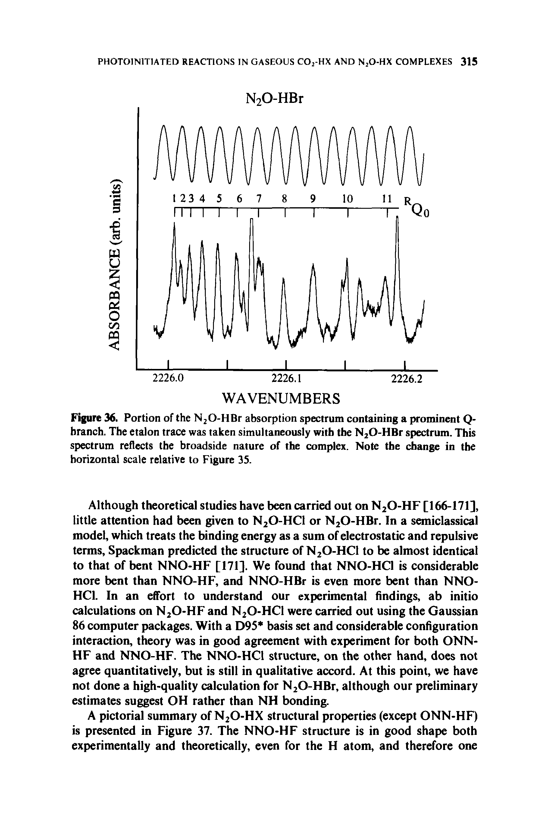 "Figure 36. Portion of the NjO-HBr <a href=""/info/nad_absorption_spectrum"">absorption spectrum</a> containing a prominent Q-branch. The etalon trace was taken <a href=""/info/s_with_simultaneous"">simultaneously with</a> the N20-HBr spectrum. This <a href=""/info/reflectance_atr_spectrum"">spectrum reflects</a> the broadside nature of the complex. Note the change in the <a href=""/info/scale_horizontal_and"">horizontal scale</a> relative to Figure 35."