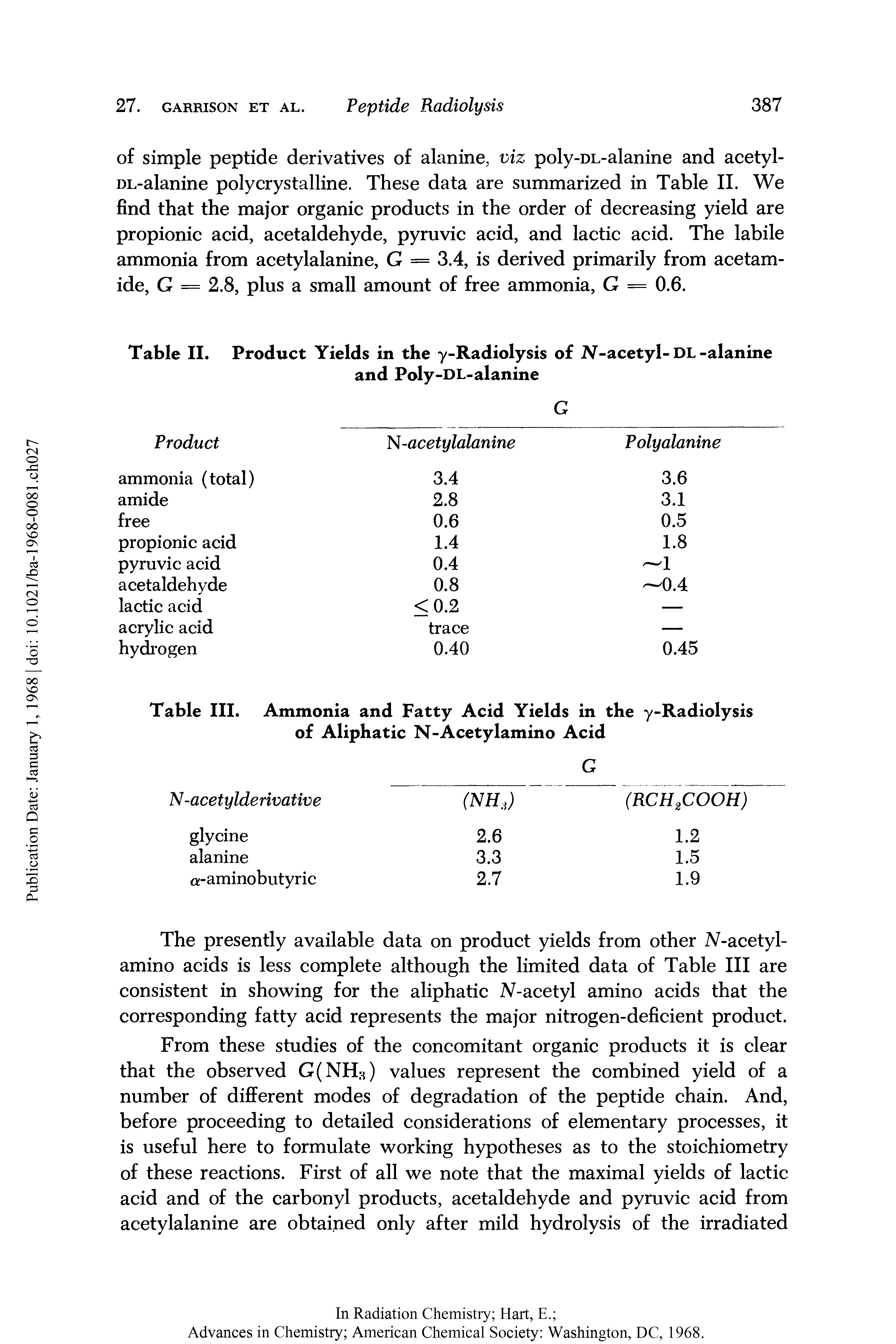 Table II. Product Yields in the y-Radiolysis of 2V-acetyl-DL-alanine...