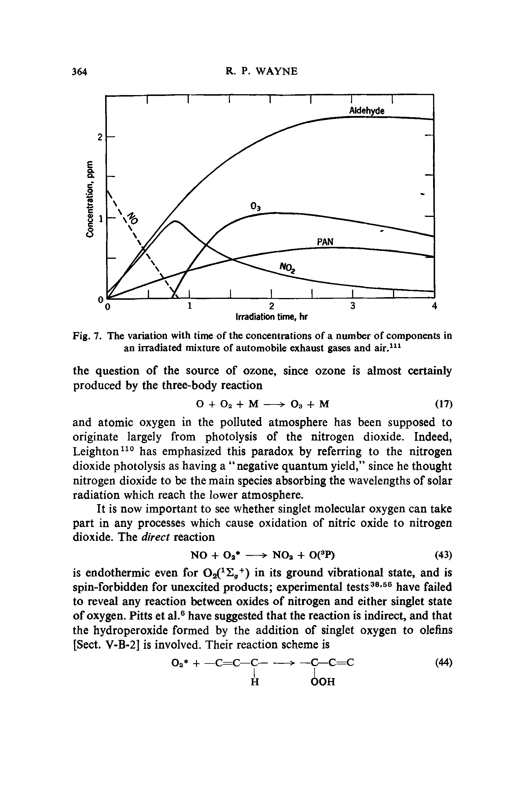 "Fig. 7. The <a href=""/info/variations_with_time_for_of_pcp"">variation with time</a> of the concentrations of a number of components in an irradiated mixture of <a href=""/info/automobile_exhaust"">automobile exhaust</a> gases and air.111"