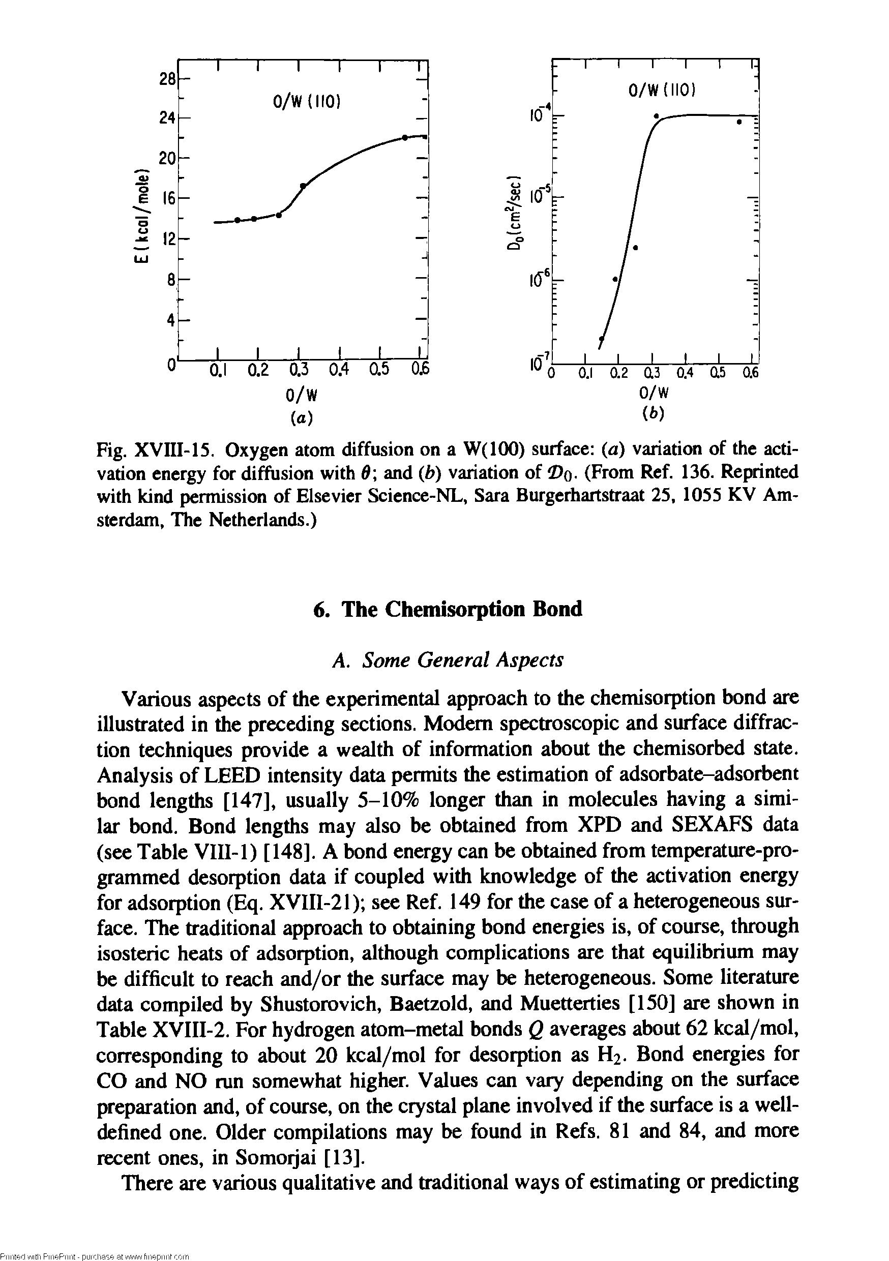 Fig. XVIII-15. Oxygen atom diffusion on a W(IOO) surface (a) variation of the activation energy for diffusion with d and (b) variation of o- (From Ref. 136. Reprinted with kind permission of Elsevier Science-NL, Sara Burgerhartstraat 25, 1055 KV Amsterdam, The Netherlands.)...