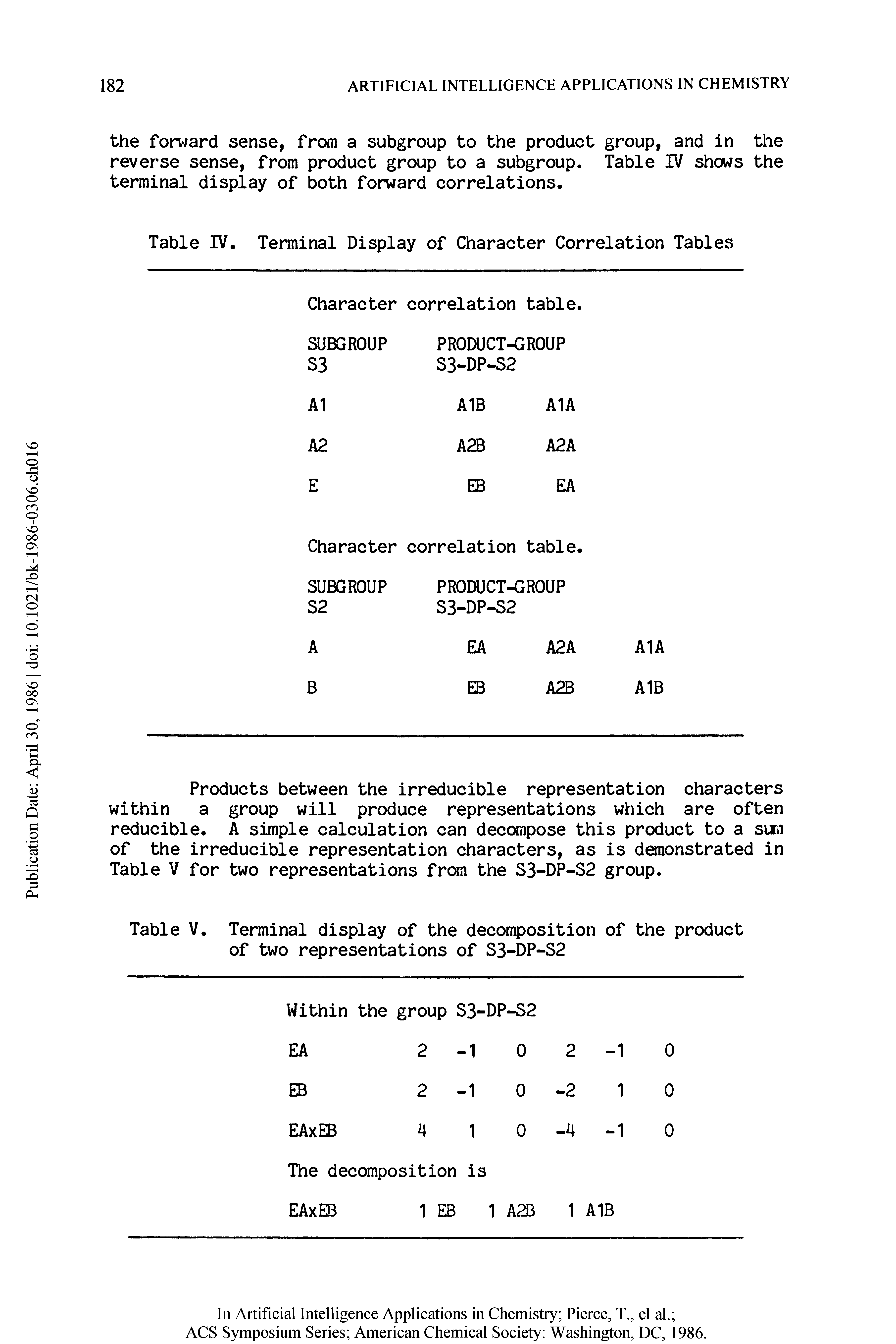 Table IV. Terminal Display of Character Correlation Tables