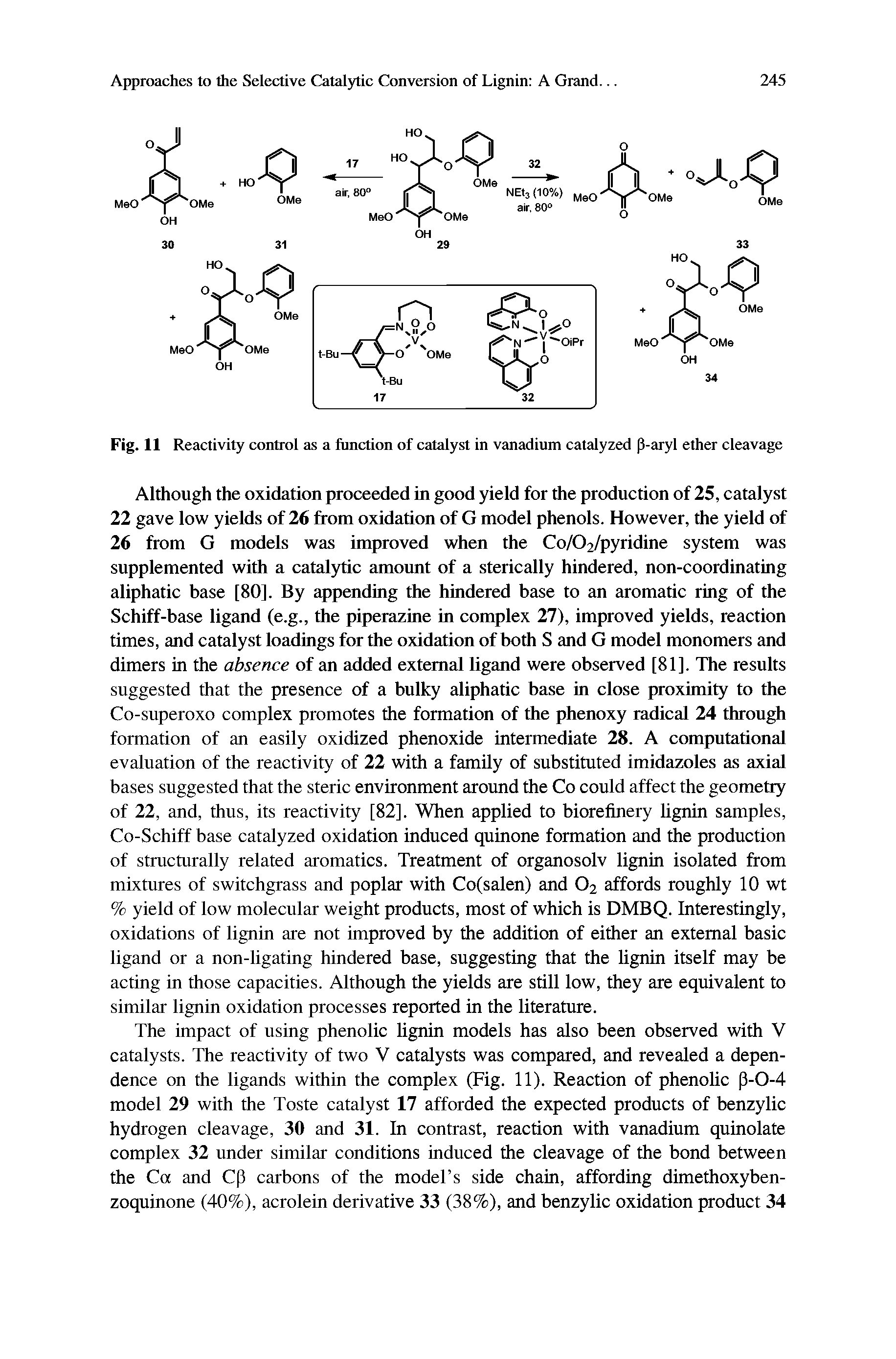 Fig. 11 Reactivity control as a function of catalyst in vanadium catalyzed p-aryl ether cleavage...