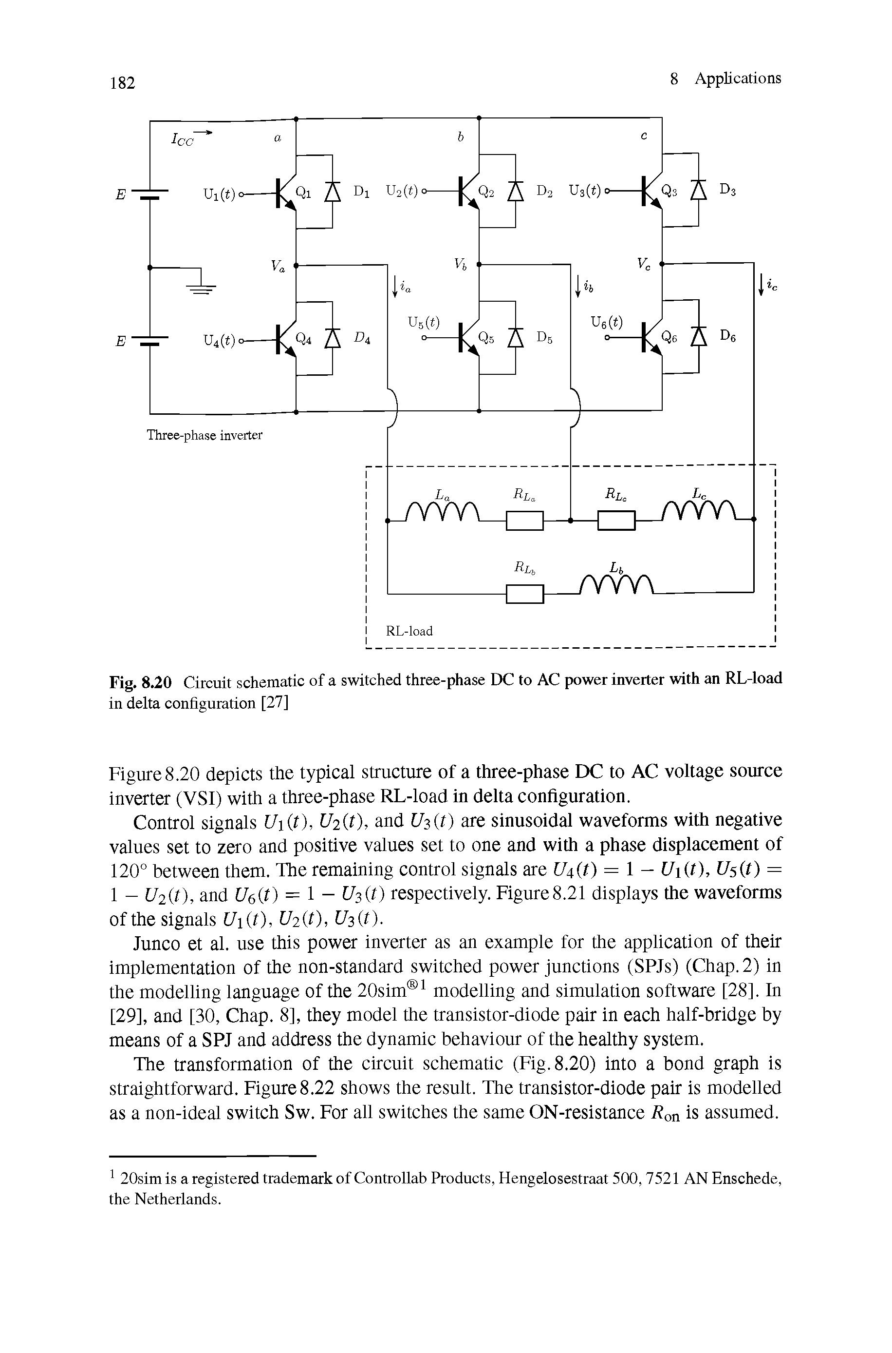 "Fig. 8.20 Circuit schematic of a switched <a href=""/info/three_phase"">three-phase</a> DC to AC power inverter with an RL-load in delta configuration [27]"