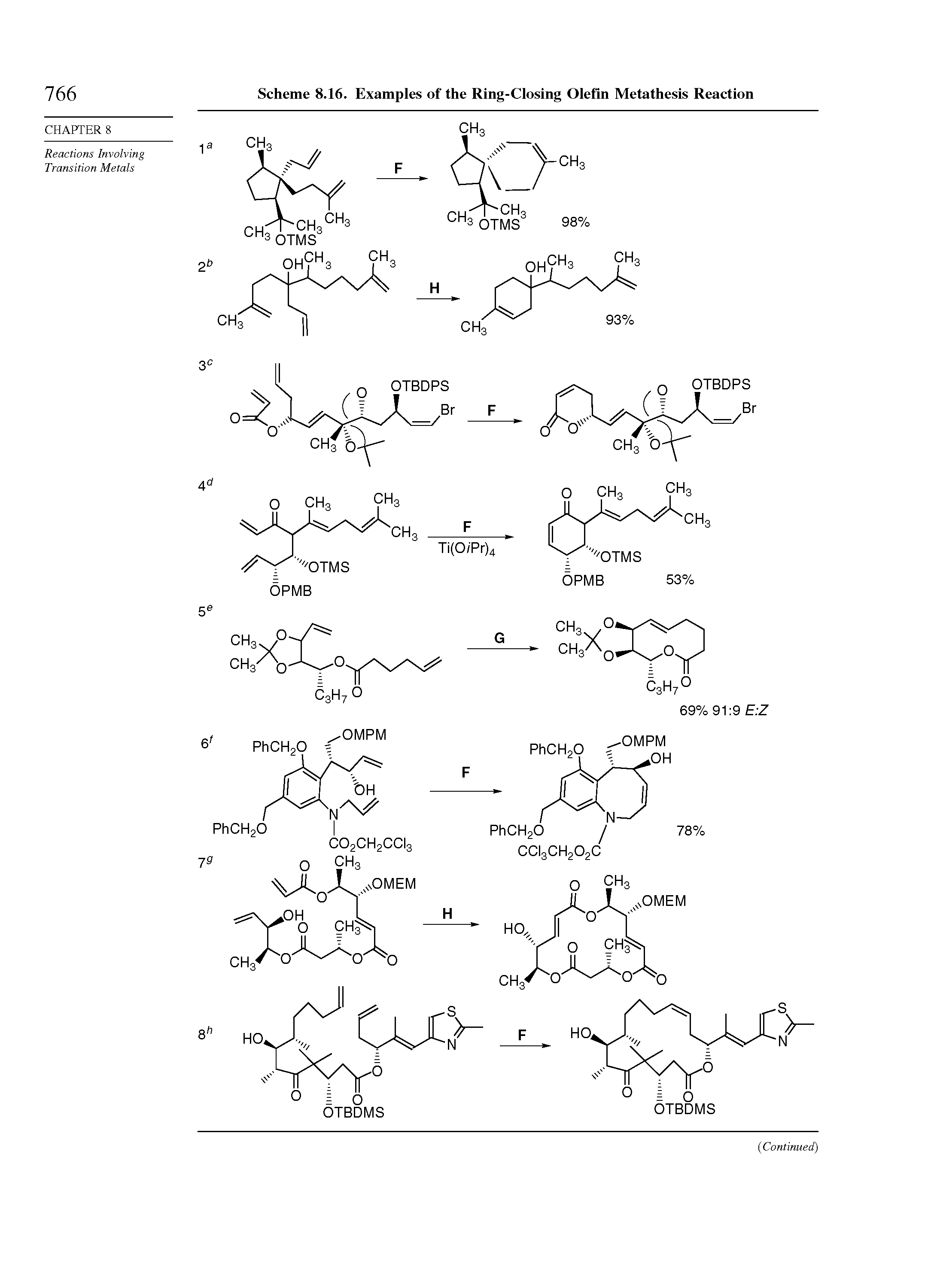 "Scheme 8.16. Examples of the <a href=""/info/ring_closing_olefin_metathesis"">Ring-Closing Olefin Metathesis</a> Reaction"