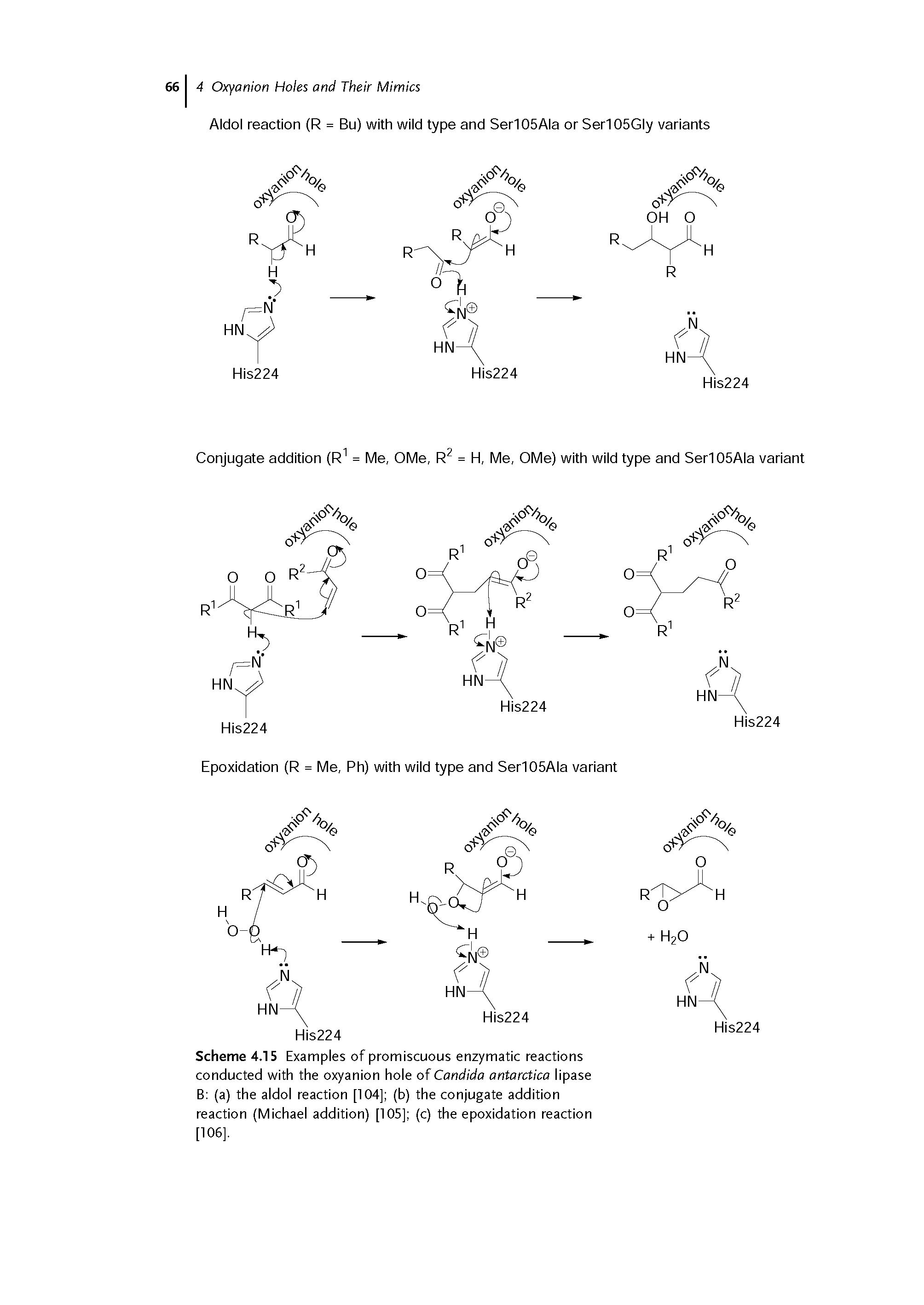 "Scheme 4.15 Examples of <a href=""/info/enzymatic_promiscuity"">promiscuous enzymatic</a> reactions conducted with the <a href=""/info/oxyanion_hole"">oxyanion hole</a> of <a href=""/info/candida_antarctica_lipase_a"">Candida antarctica lipase</a> B (a) the <a href=""/info/aldol_reactions"">aldol reaction</a> [104] (b) the <a href=""/info/addition_conjugate_and_sn2_reactions"">conjugate addition reaction</a> (<a href=""/info/michael_addition"">Michael addition</a>) [105] (c) the epoxidation reaction [106],"
