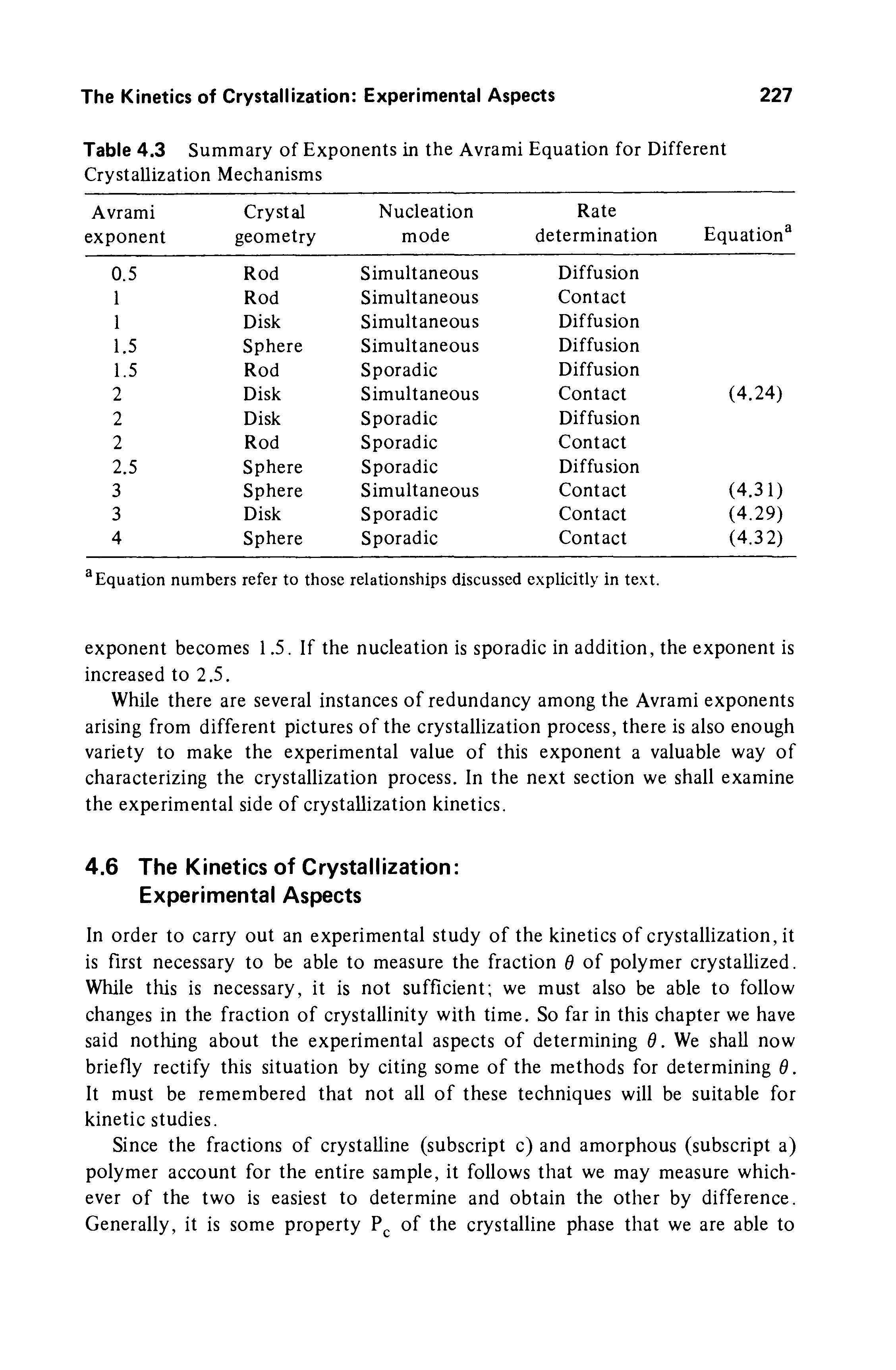 Table 4.3 Summary of Exponents in the Avrami Equation for Different Crystallization Mechanisms