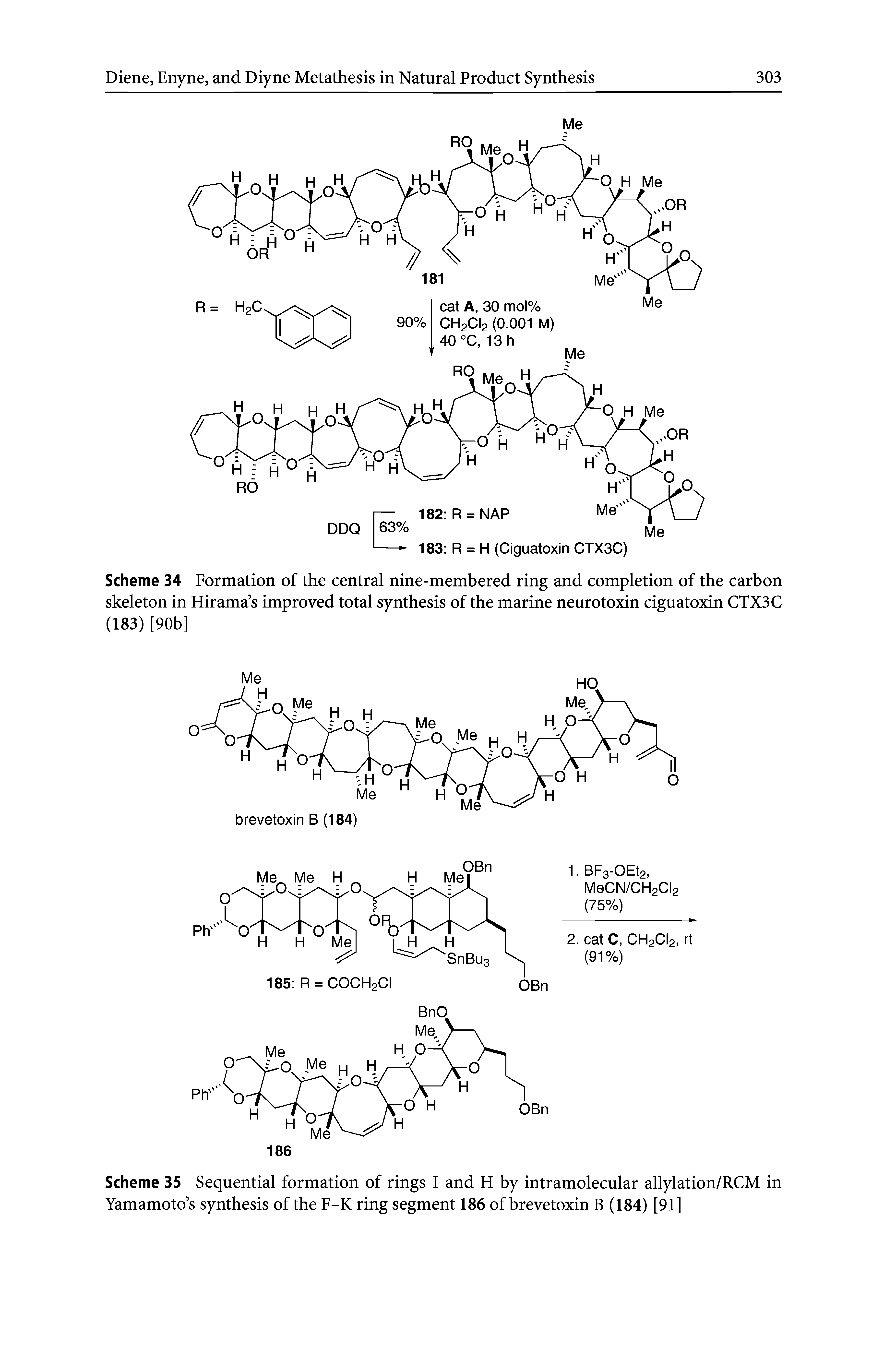 "Scheme 35 Sequential formation of rings I and H by <a href=""/info/allylation_intramolecular"">intramolecular allylation</a>/RCM in Yamamoto s synthesis of the F-K ring segment 186 of brevetoxin B (184) [91]"