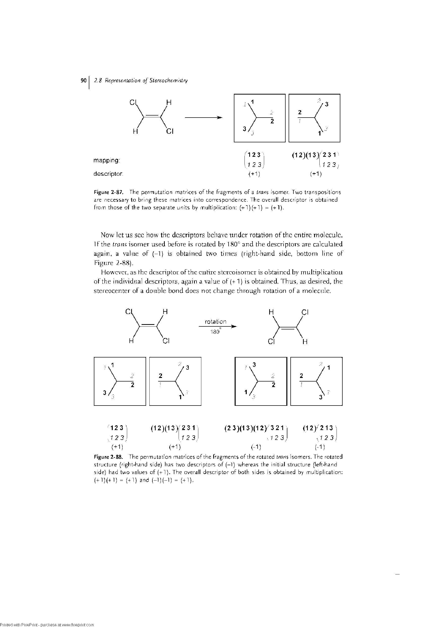 "Figure 2-88. The permutation matrices of the fragments of the rotated trans Isomers. The <a href=""/info/rotational_structure"">rotated structure</a> (<a href=""/info/right_handed_dna"">right-hand</a> side) has two descriptors of (-1) whereas the <a href=""/info/initial_structures"">initial structure</a> (<a href=""/info/left_handed"">left-hand</a> side) had two values of (-r 1). The overall descriptor of both sides is obtained by multiplication (+1)(+1) = (41) and (-1)(-1) = (41),"