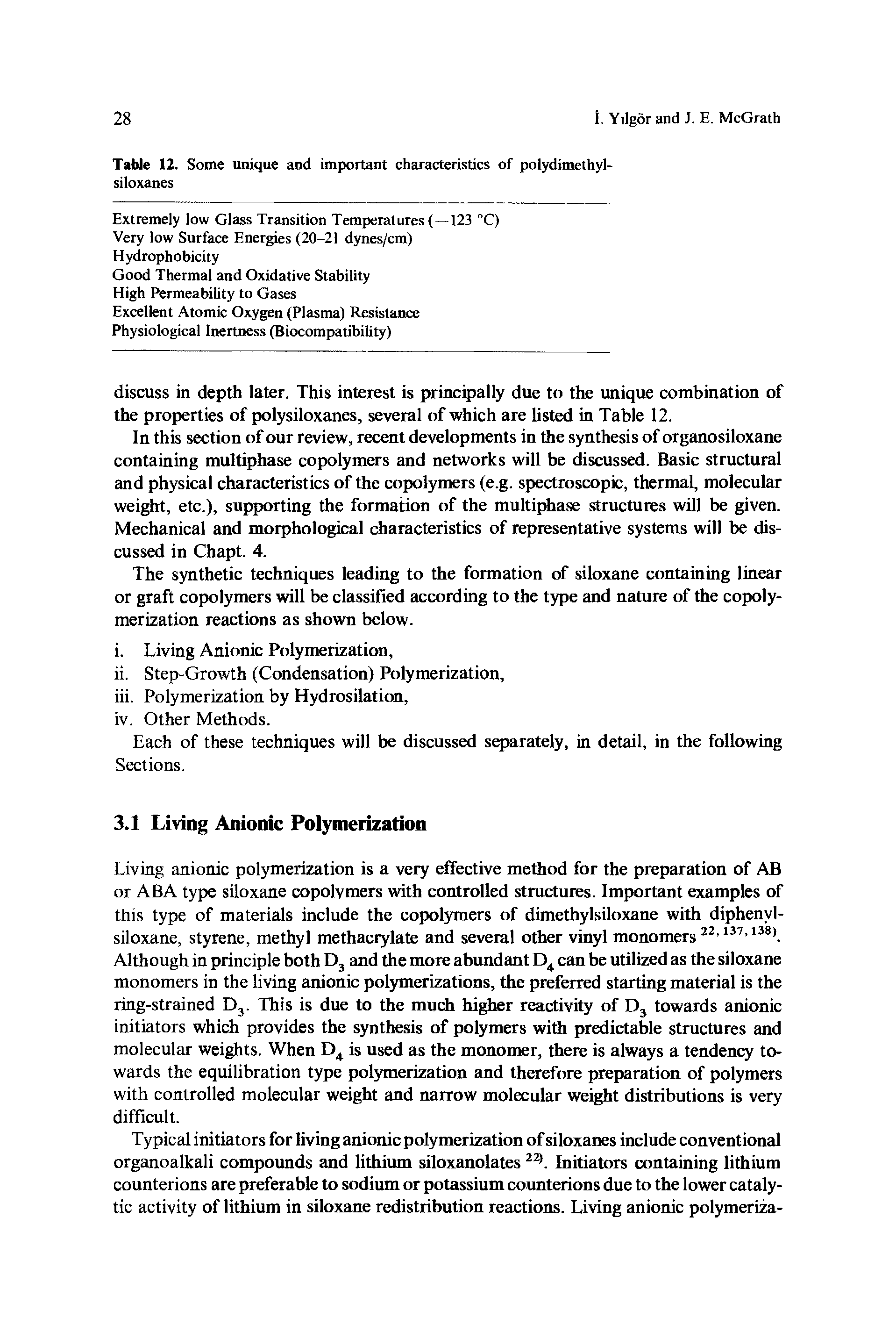 Table 12. Some unique and important characteristics of polydimethyl-siloxanes