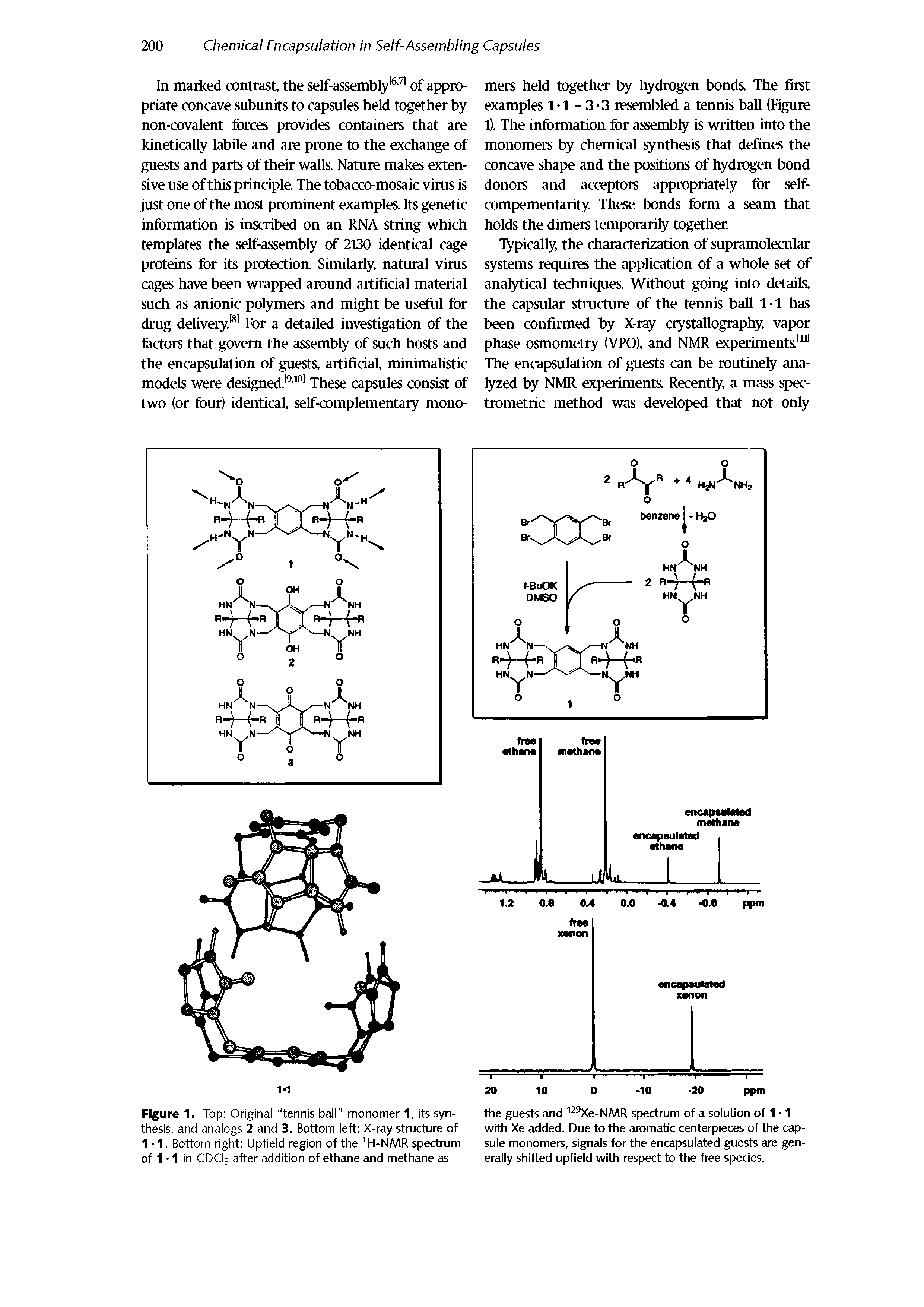 "Figure 1. Top Original ""tennis ball"" monomer 1, its syn- the guests and 129Xe-NMR spectrum of a solution of 1 1 thesis, and analogs 2 and 3. Bottom left X-ray structure of with Xe added. Due to the aromatic centerpieces of the cap-..."