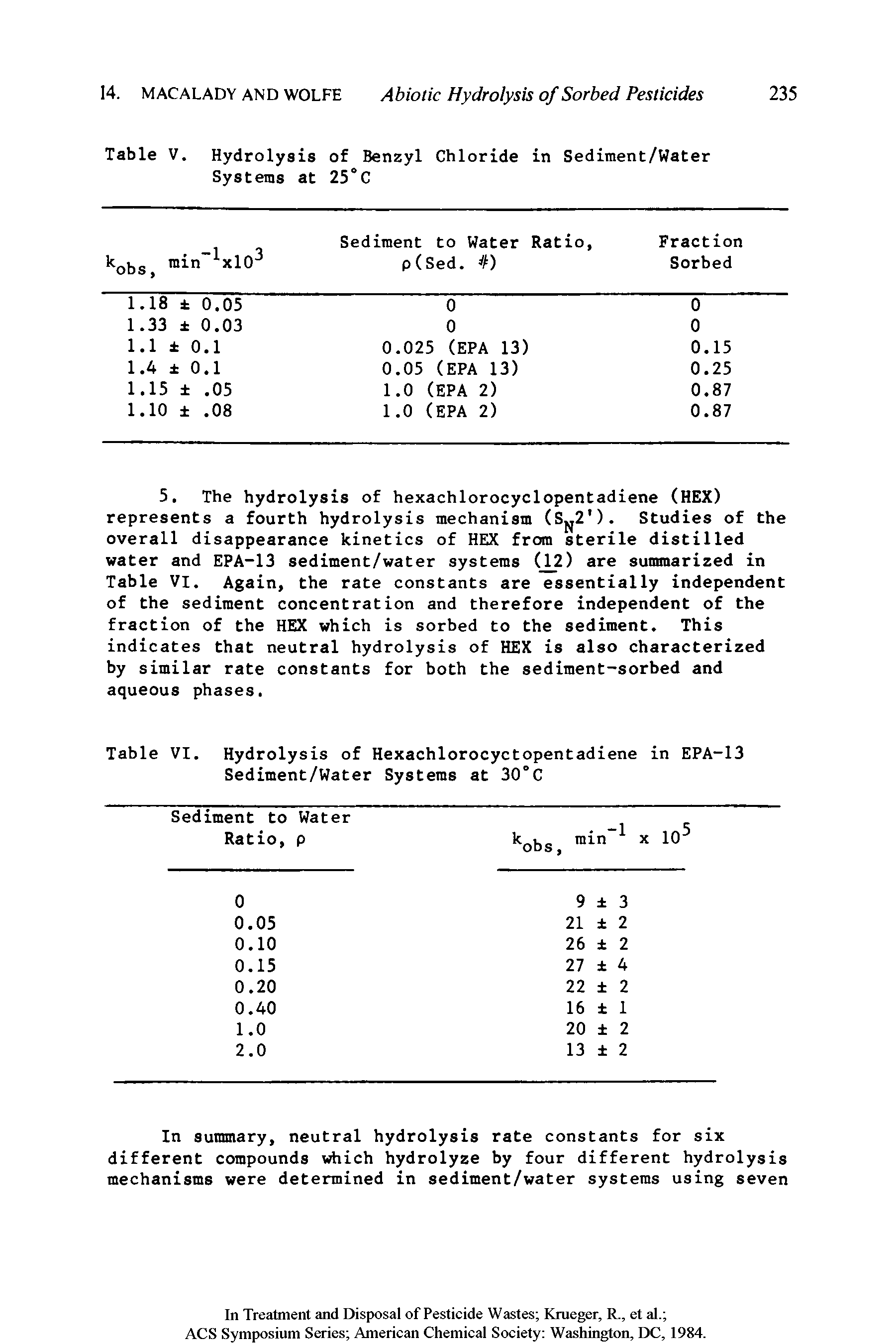 "Table VI. Hydrolysis of Hexachlorocyctopentadiene in EPA-13 <a href=""/info/water_sedimentation_vol"">Sediment/Water</a> Systems at 30°C"