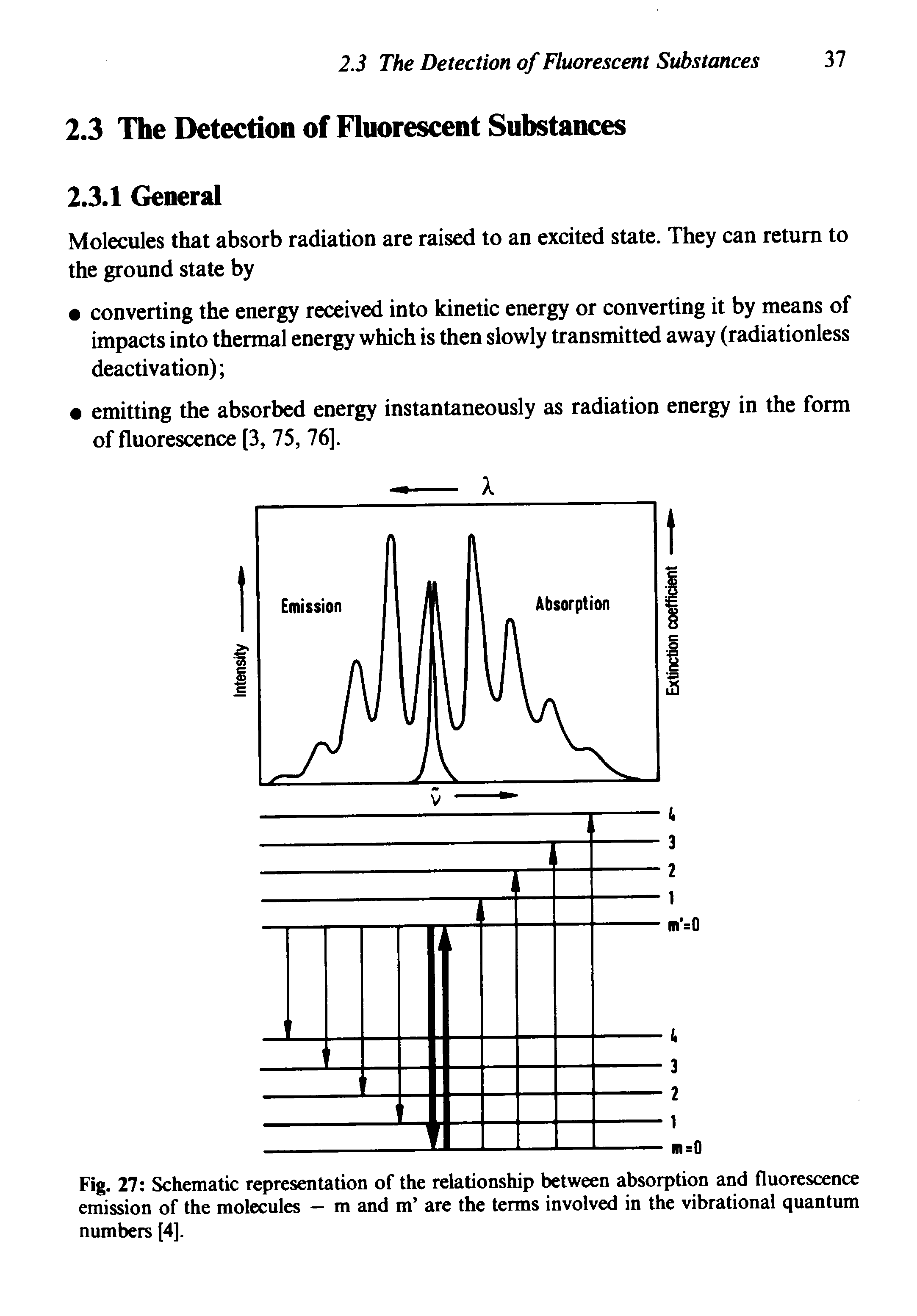 Fig. 27 Schematic representation of the relationship between absorption and fluorescence emission of the molecules — m and m are the terms involved in the vibrational quantum numbers [4],...