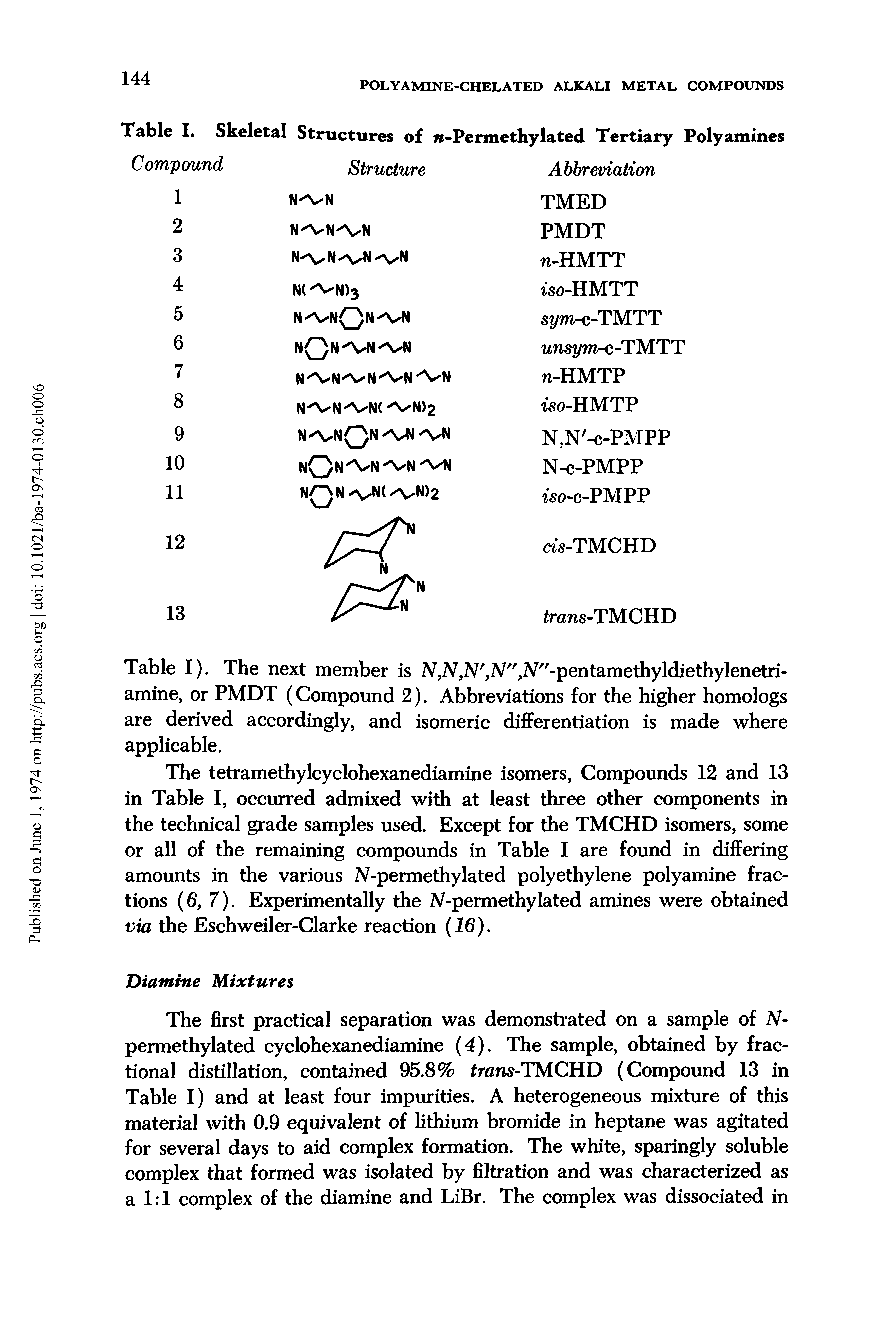 "Table I). The next member is 2V,N,N, 2V"",2V""-pentamethyldiethylenetri-amine, or PMDT (Compound 2). Abbreviations for the higher homologs are derived accordingly, and <a href=""/info/isomeric_differentiation"">isomeric differentiation</a> is made where applicable."