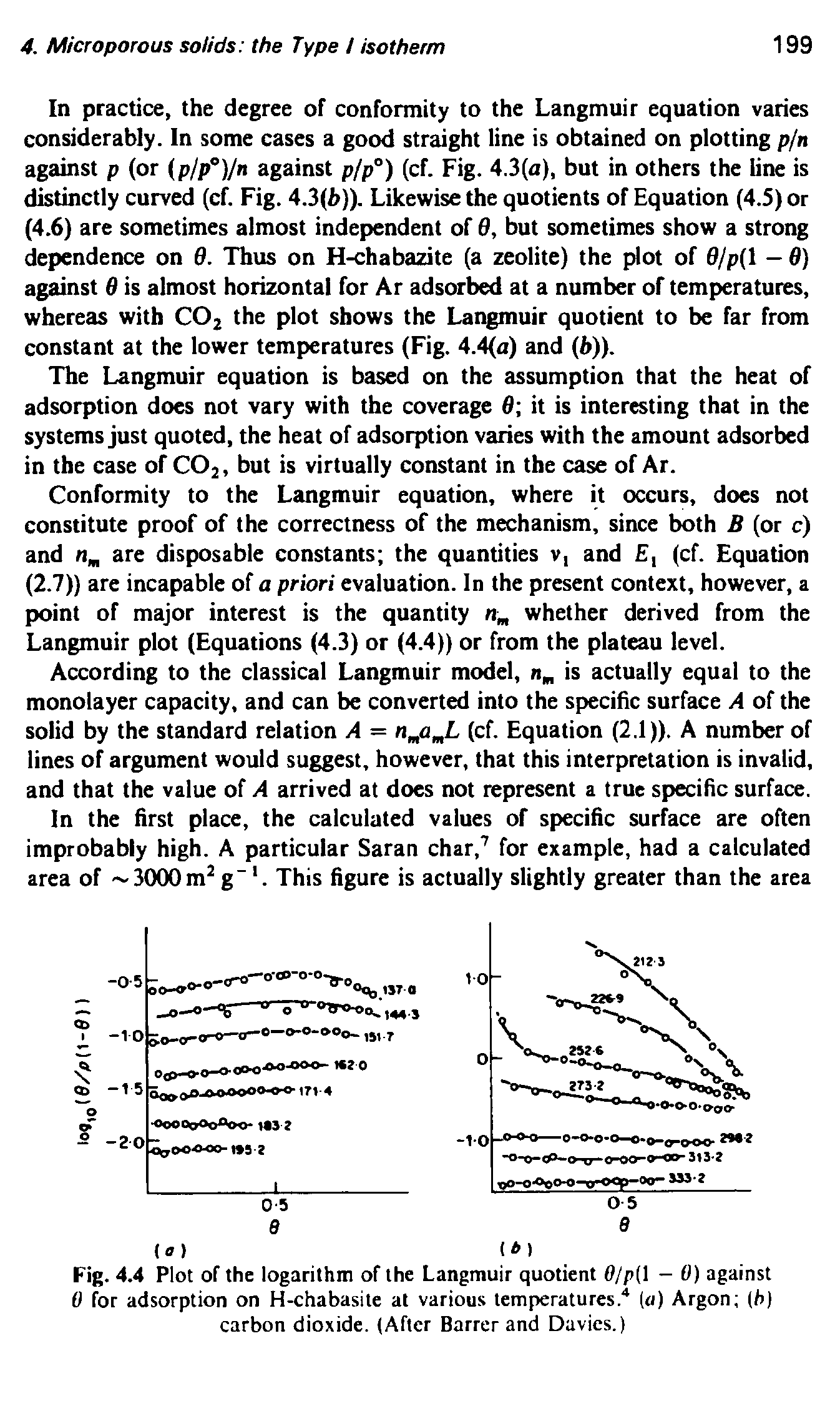 "Fig. 4.4 Plot of the logarithm of the Langmuir quotient 0/p( - 0) against 0 for adsorption on H-chabasite at various temperatures."" (a) Argon (h) carbon dioxide. (After Barrer and Davies.)..."