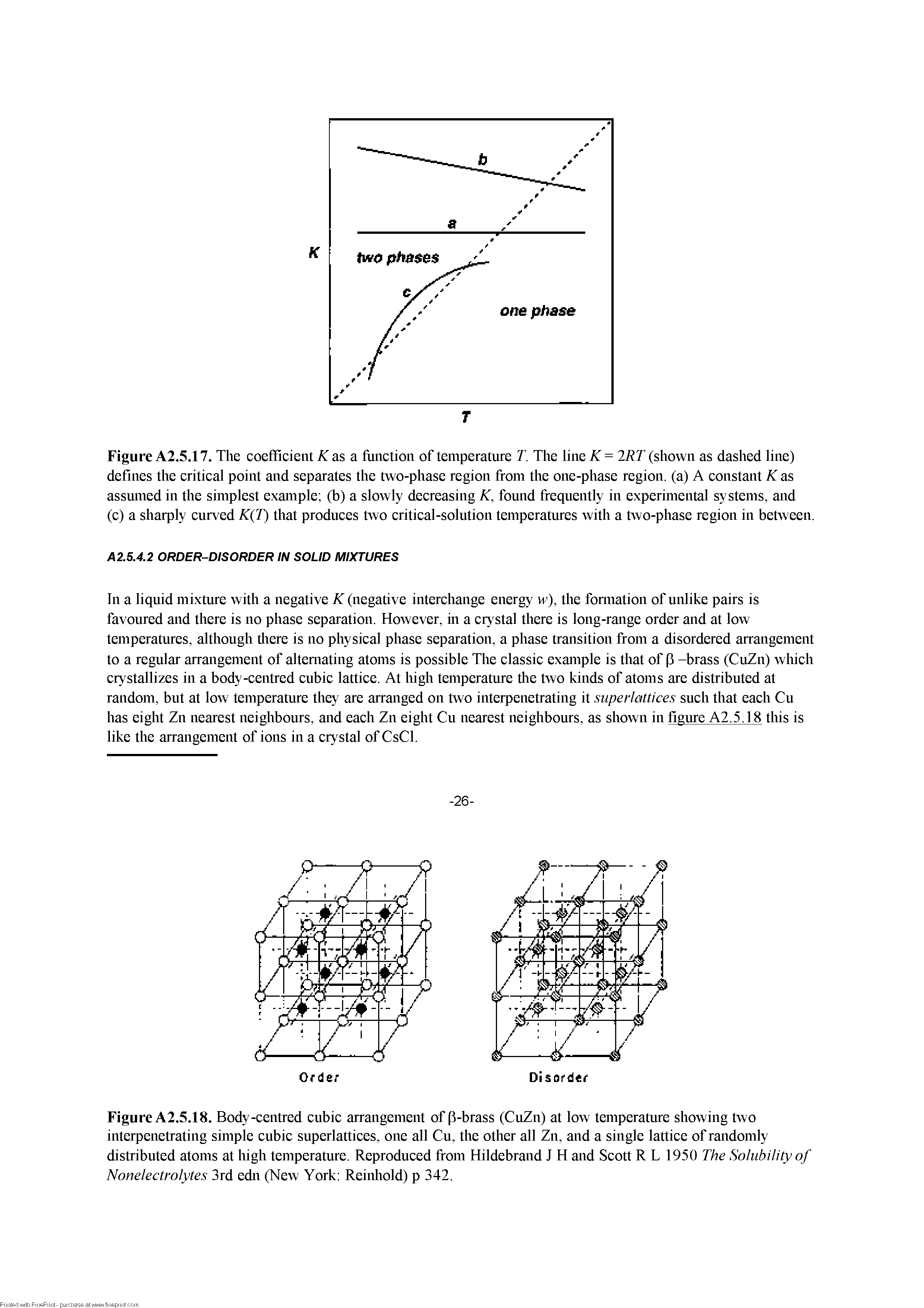 Figure A2.5.17. The coefficient Aias a fimction of temperature T. The line IRT (shown as dashed line) defines the critical point and separates the two-phase region from the one-phase region, (a) A constant K as assumed in the simplest example (b) a slowly decreasing K, found frequently in experimental systems, and (c) a sharply curved K T) that produces two critical-solution temperatures with a two-phase region in between.