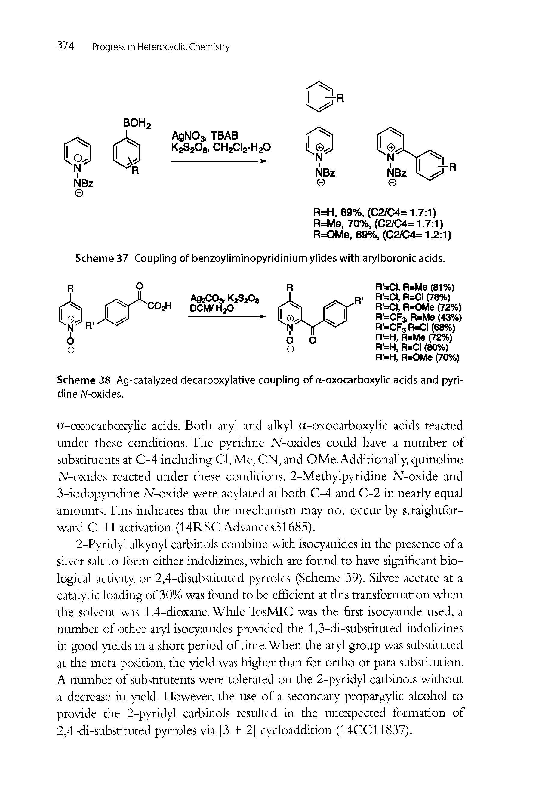 "Scheme 38 Ag-<a href=""/info/decarboxylation_catalyzing"">catalyzed decarboxylative</a> coupling of a-<a href=""/info/oxocarboxylic_acids"">oxocarboxylic acids</a> and pyridine A/-oxides."