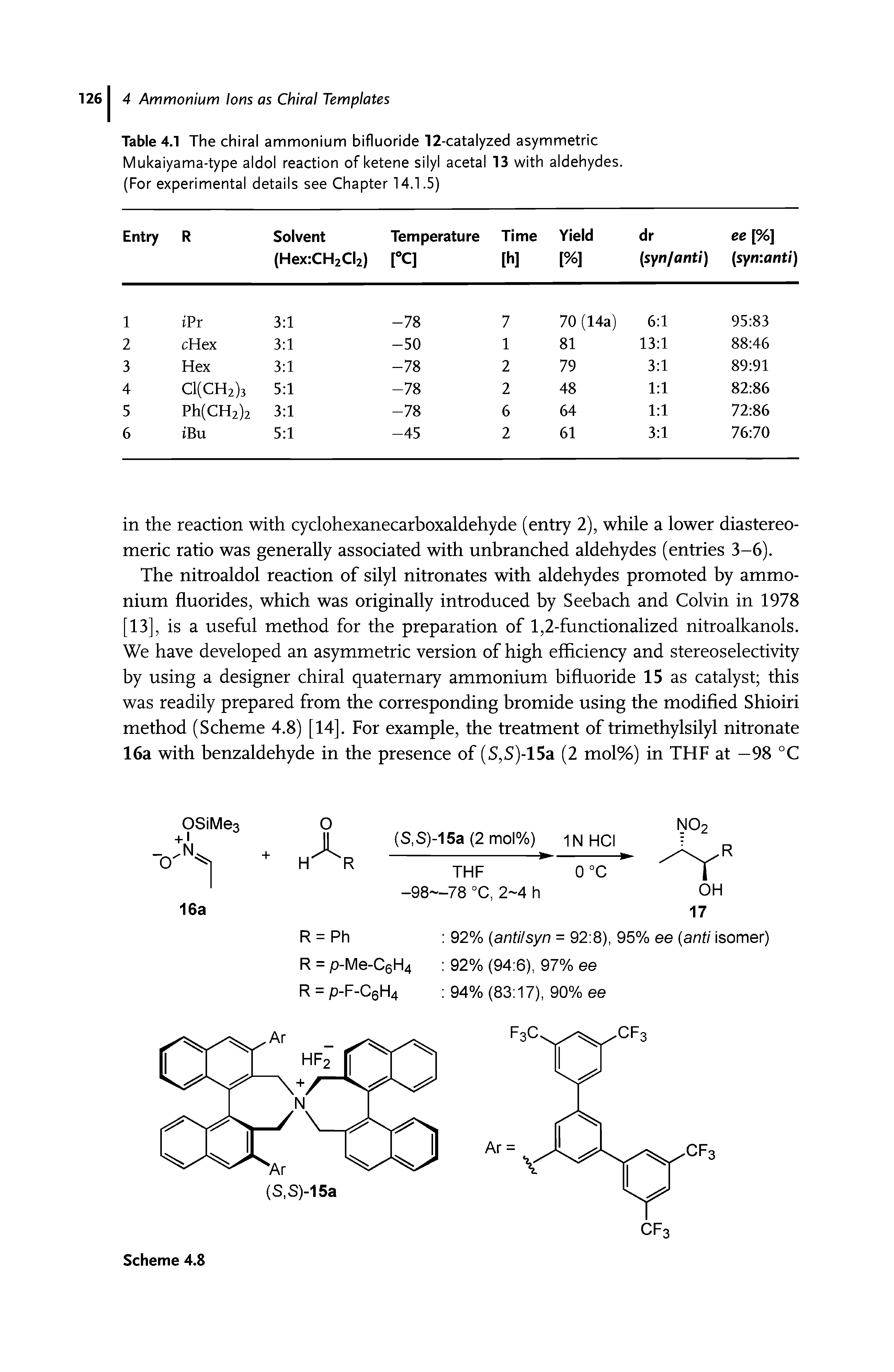"Table 4.1 The <a href=""/info/ammonium_chiral"">chiral ammonium</a> bifluoride 12-catalyzed <a href=""/info/asymmetric_mukaiyama_type_aldol_reactions"">asymmetric Mukaiyama-type aldol reaction</a> of <a href=""/info/silyl_ketene_acetals"">ketene silyl acetal</a> 13 <a href=""/info/with_aldehydes"">with aldehydes</a>. (For <a href=""/info/experimental_details"">experimental details</a> see Chapter 14.1.5)"
