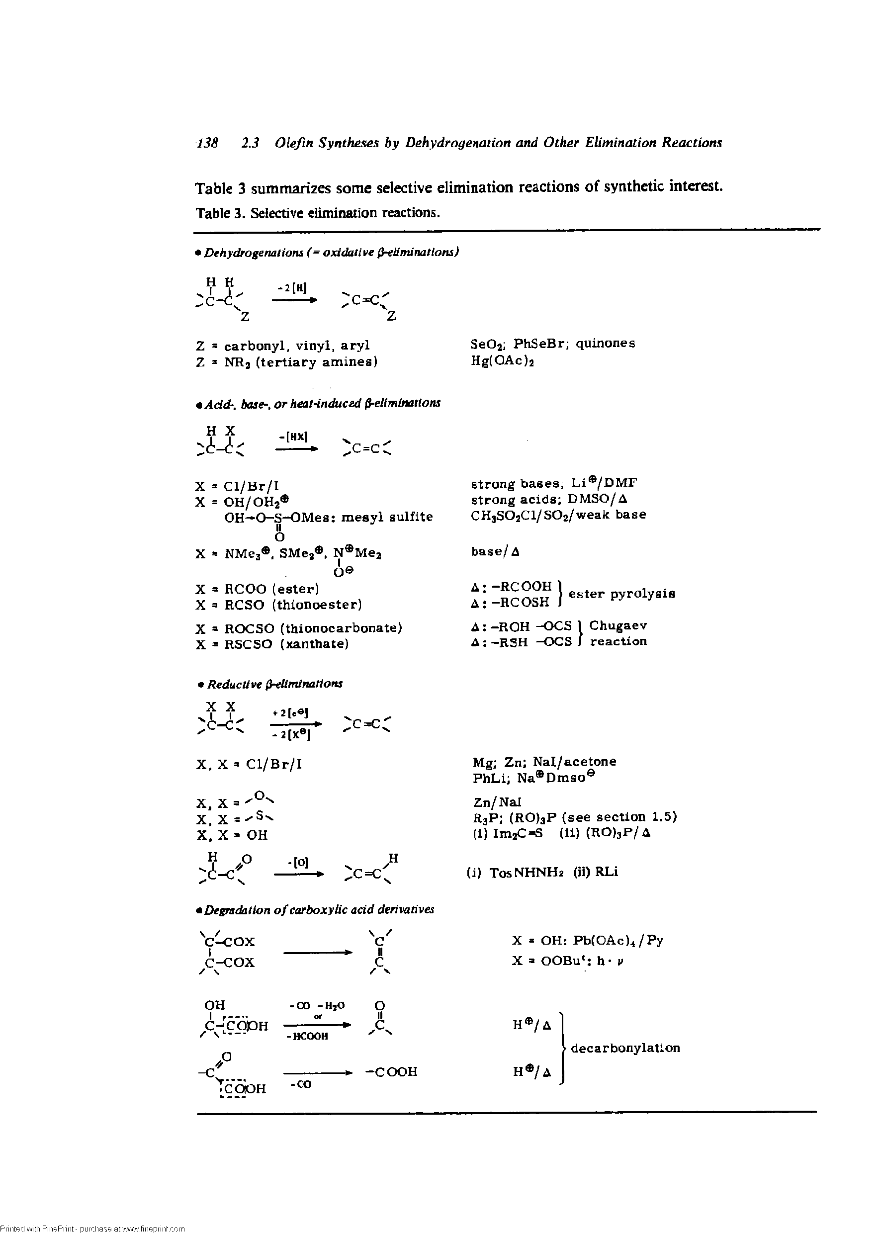 "Table 3 summarizes some <a href=""/info/el_elimination_selectivity"">selective elimination</a> reactions of synthetic interest. Table 3. <a href=""/info/el_elimination_selectivity"">Selective elimination</a> reactions."