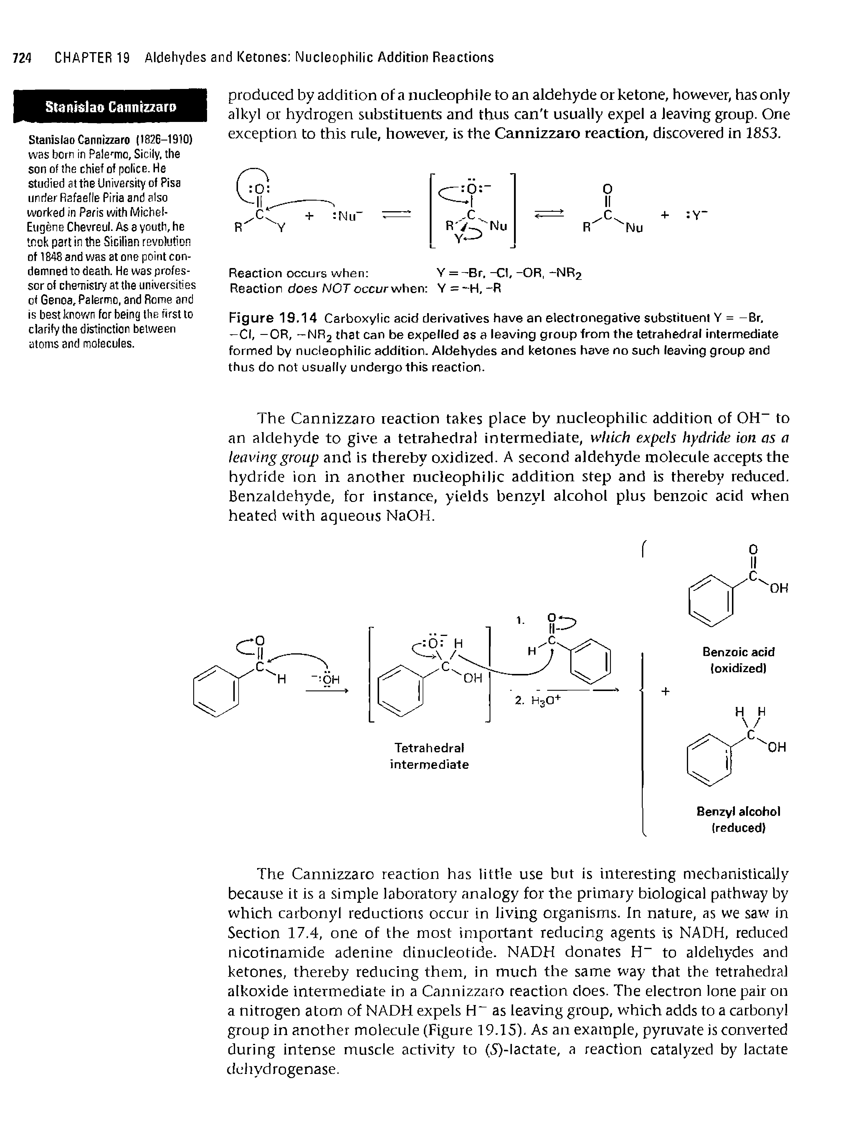 Figure 19.14 Carboxylic acid derivatives have an electronegative substituent Y = -Br, —Cl, -OR, -NR2 that can be expelled as a leaving group from the tetrahedral intermediate formed by nucleophilic addition. Aldehydes and ketones have no such leaving group and thus do not usually undergo this reaction.