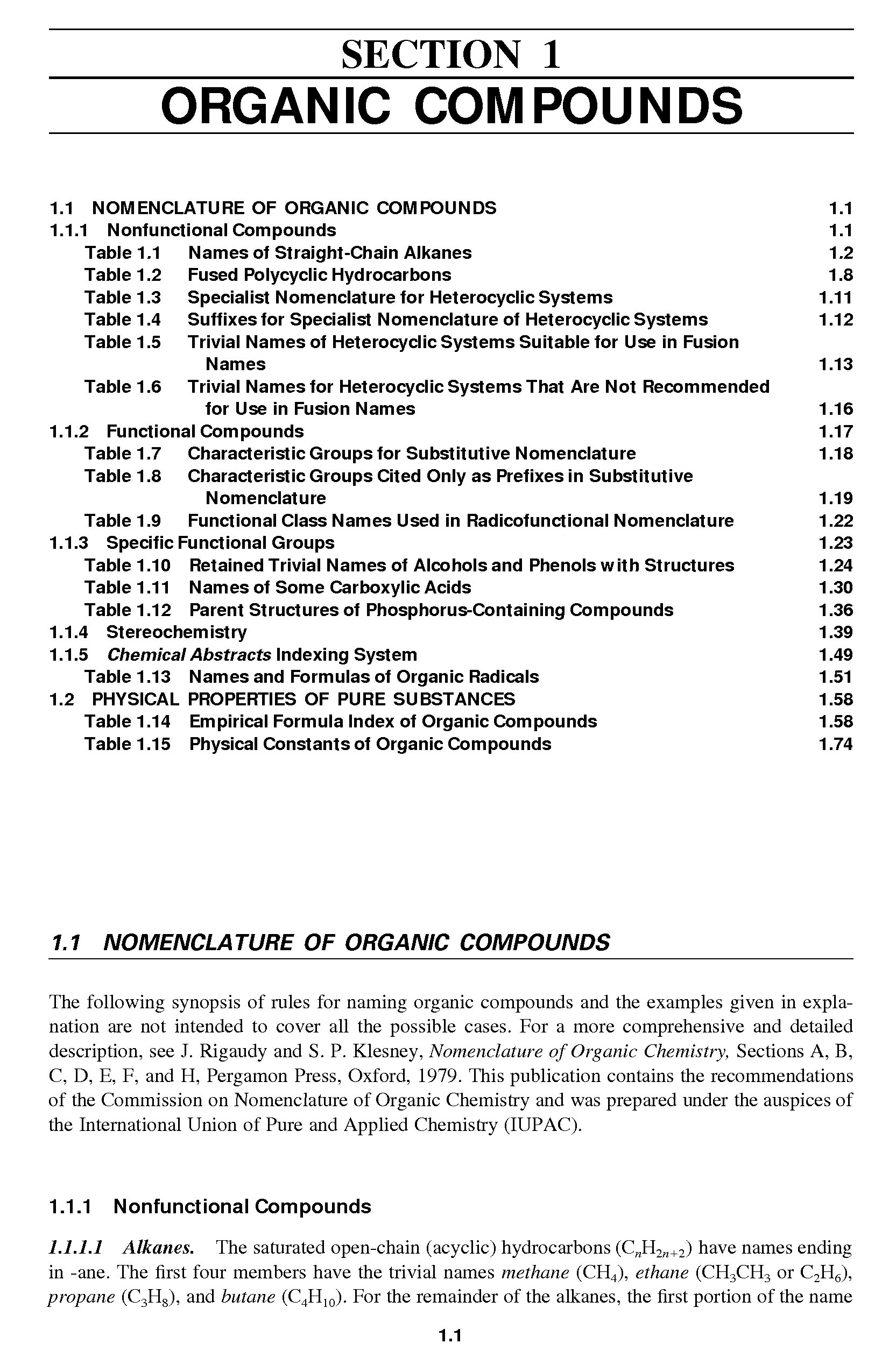 "Table 1.14 <a href=""/info/empirical_formula_index"">Empirical Formula Index</a> of Organic Compounds 1.58"