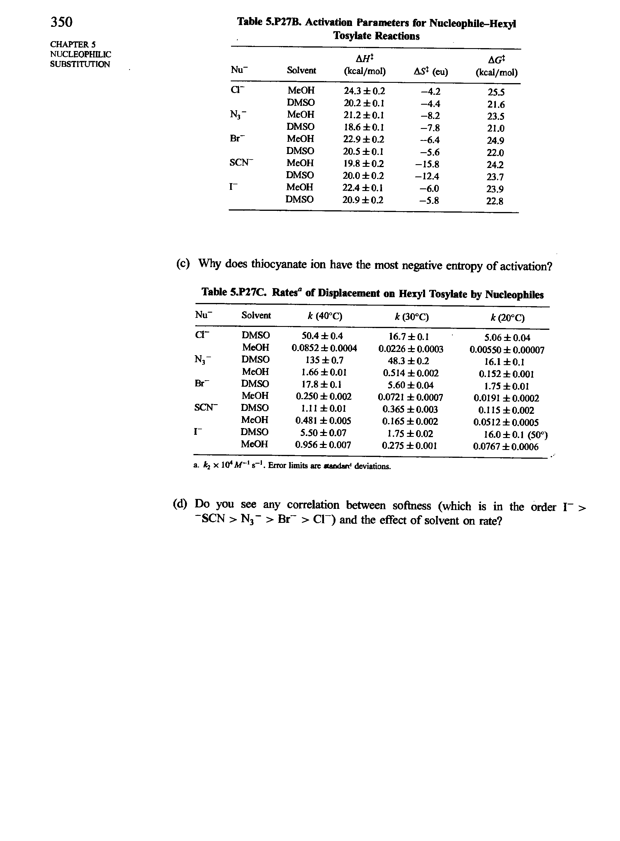 Table 5.P27B. Activation Parameters for Nucleophile-Hexyl Tosylate Reactions