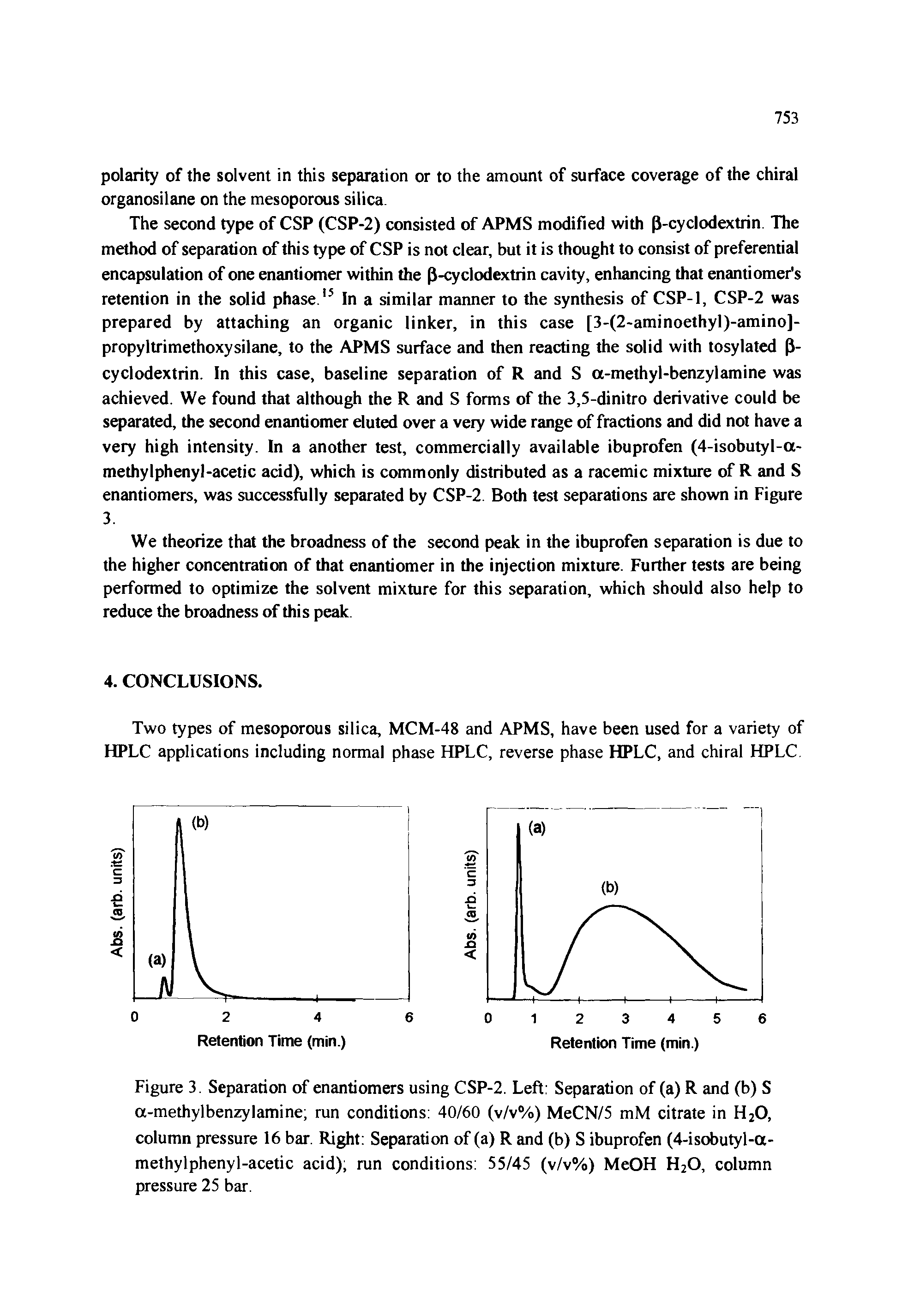 Figure 3. Separation of enantiomers using CSP-2. Left Separation of (a) R and (b) S a-methylbenzylamine run conditions 40/60 (v/v%) MeCN/5 mM citrate in H20, column pressure 16 bar. Right Separation of (a) R and (b) S ibuprofen (4-isobutyl-a-methylphenyl-acetic acid) run conditions 55/45 (v/v%) MeOH H20, column pressure 25 bar.