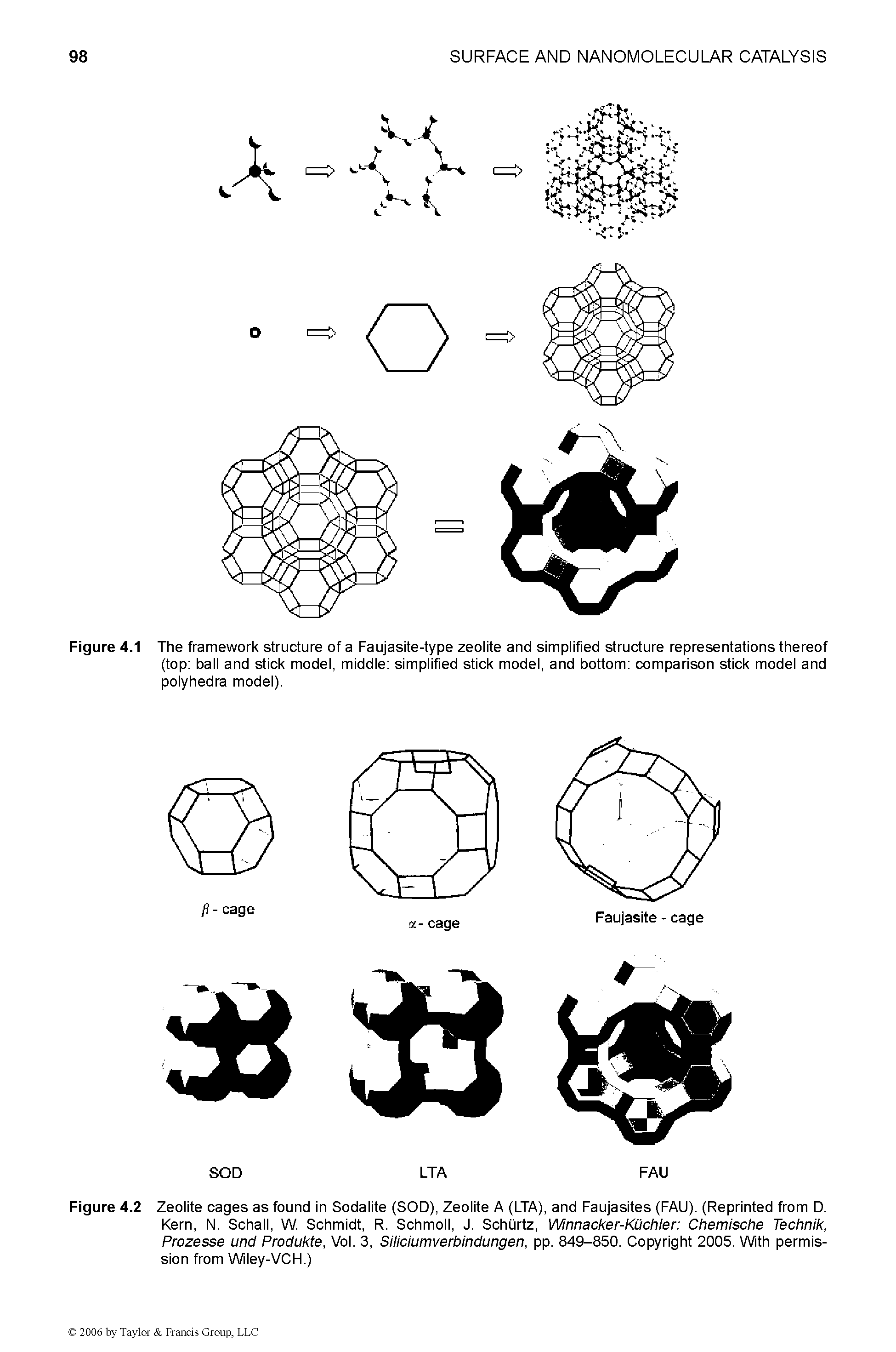 Figure 4.1 The framework structure of a Faujasite-type zeolite and simplified structure representations thereof (top ball and stick model, middle simplified stick model, and bottom comparison stick model and polyhedra model).