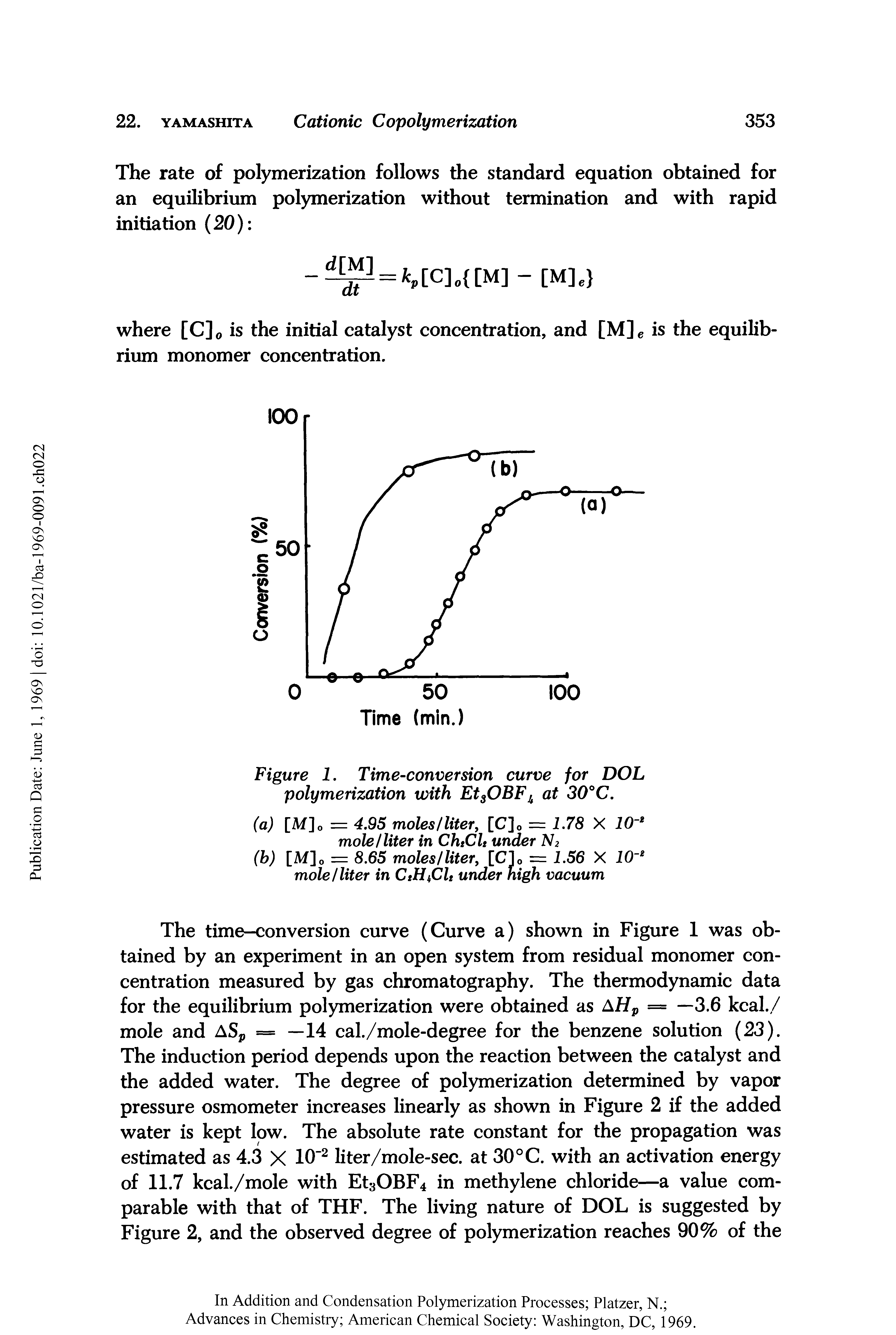 "Figure 1. Time-conversion curve for DOL <a href=""/info/polymerization_with_edc"">polymerization with</a> EtsOBFh at 30°C."
