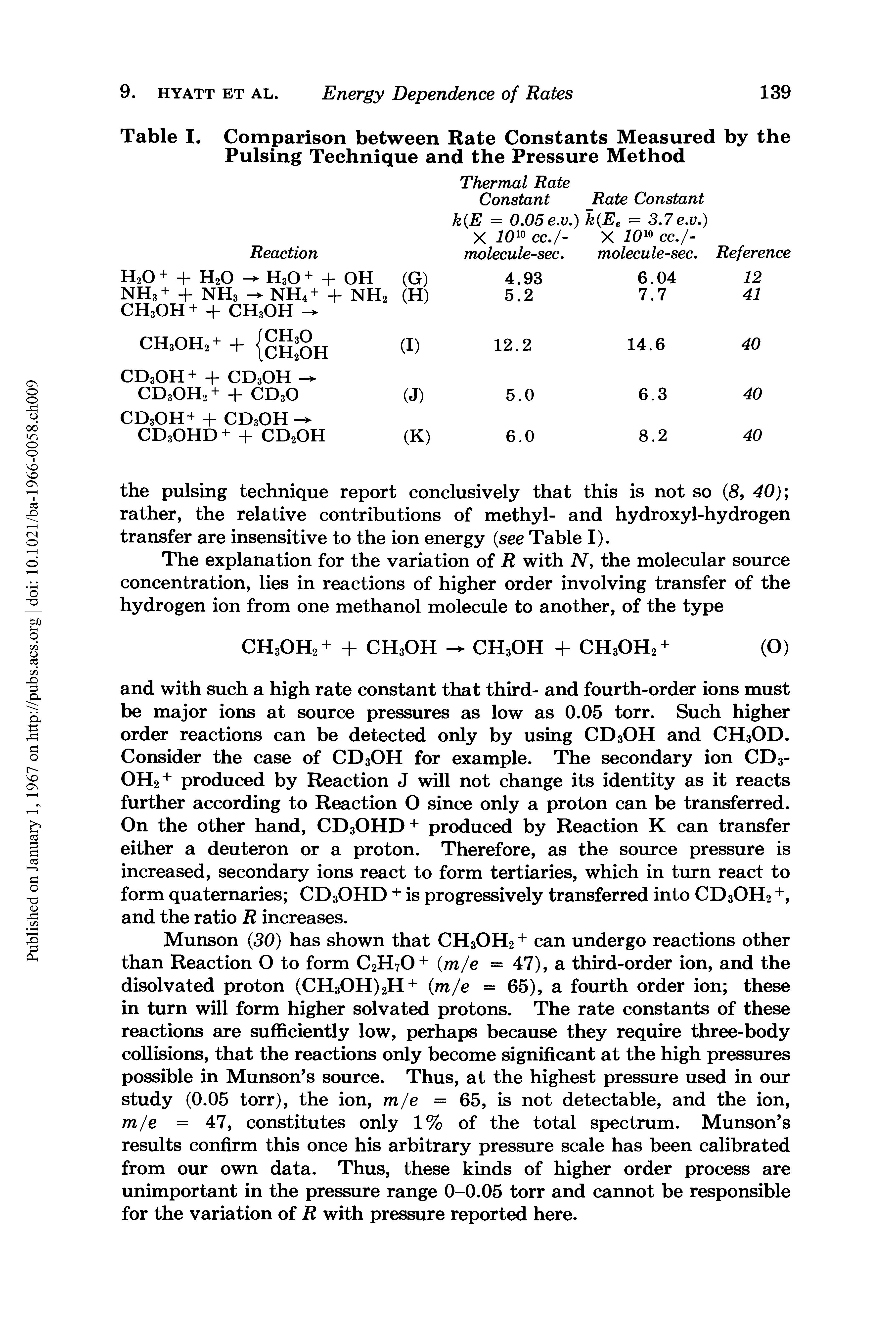 "Table I. <a href=""/info/comparison_between"">Comparison between</a> Rate Constants Measured by the <a href=""/info/pulse_techniques"">Pulsing Technique</a> and the Pressure Method"