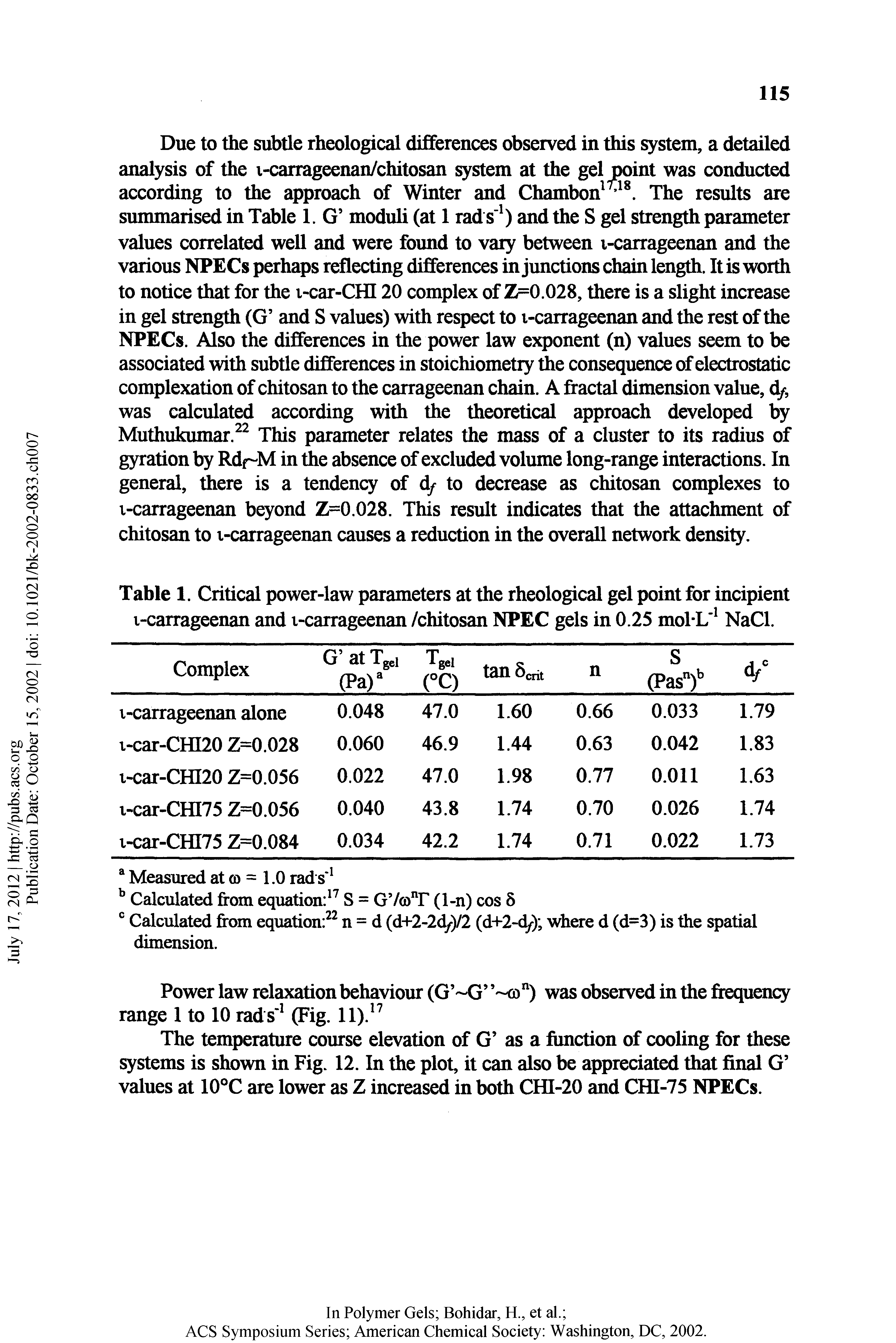 "Table 1. <a href=""/info/critical_power"">Critical power</a>-law parameters at the rheological gel point for incipient i-carrageenan and t-carrageenan /chitosan NPEC gels in 0.25 mol-L NaCl."