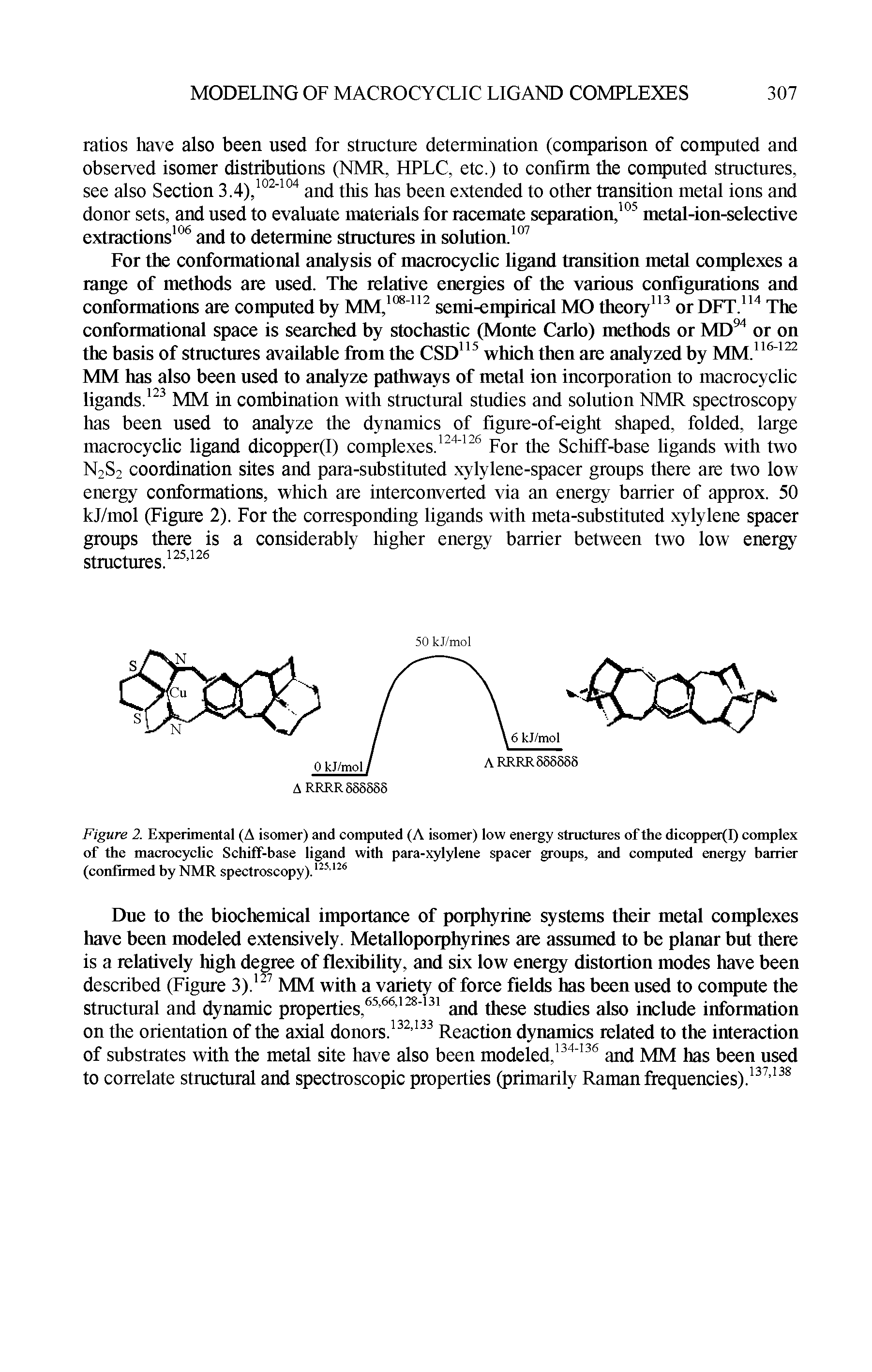 Figure 2. Experimental (A isomer) and computed (A isomer) low energy structures of the dicopper(I) complex of the macrocyclic Schiff-base ligand with para-xylylene spacer groups, and computed energy barrier (confirmed by NMR spectroscopy).125126...