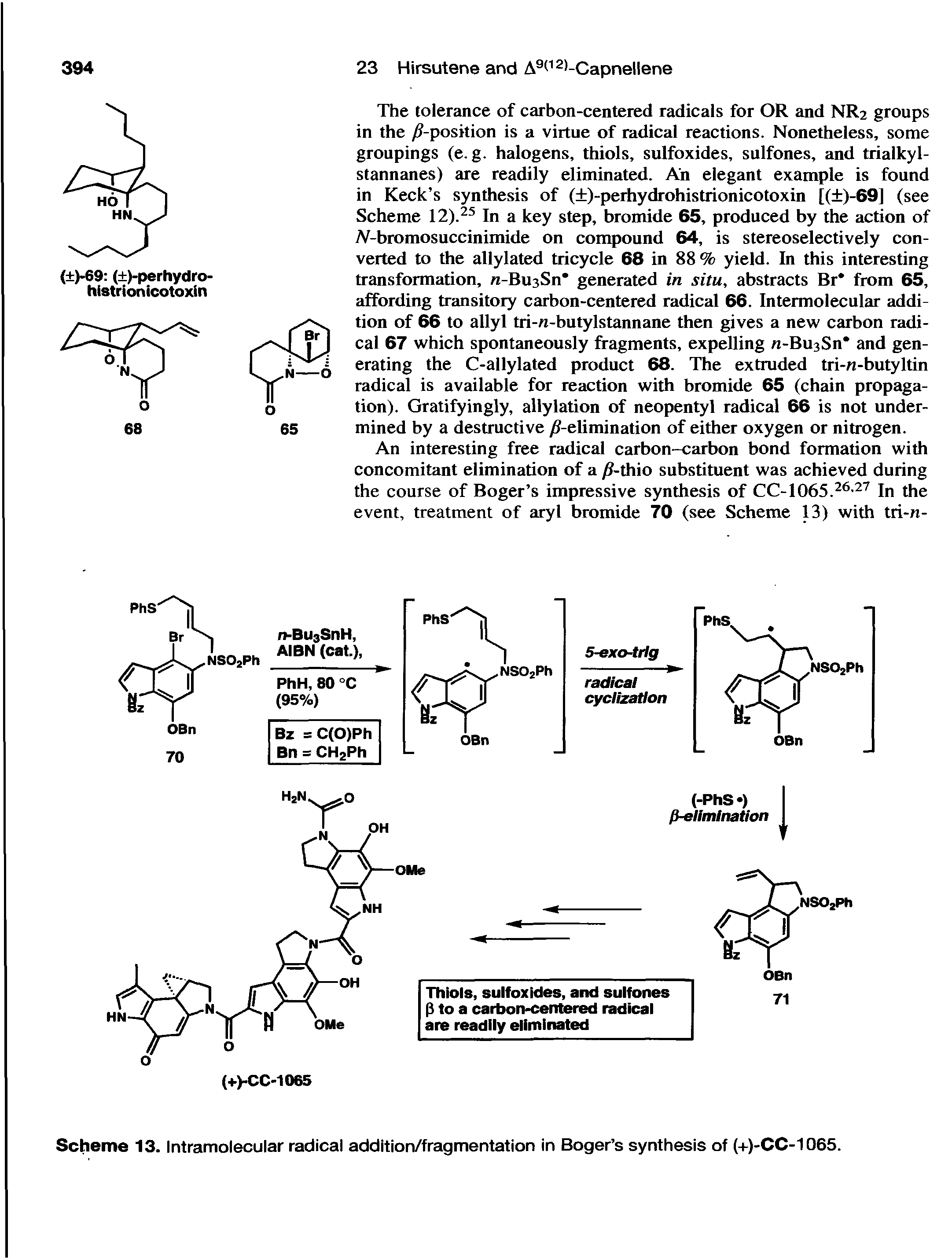Scheme 13. Intramolecular radical addition/fragmentation in Boger s synthesis of (+)-CC-1065.