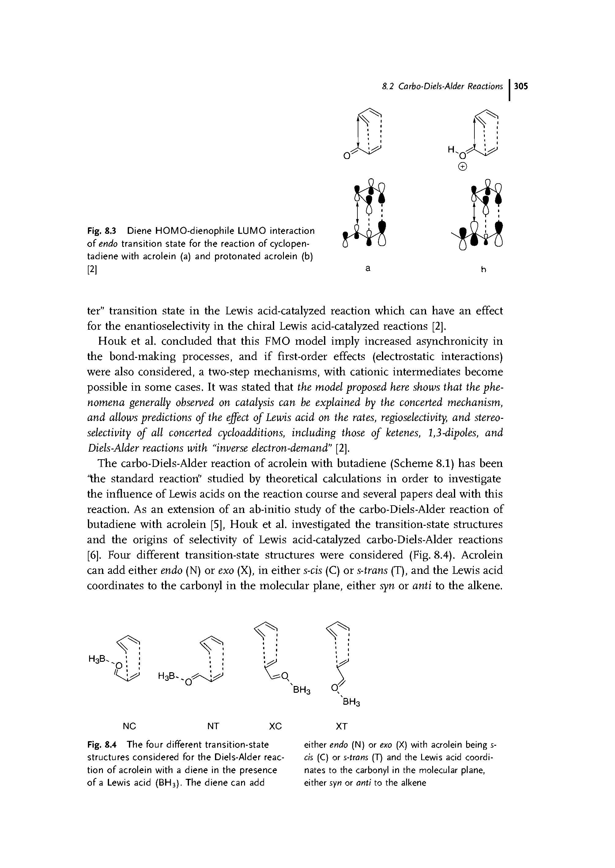 "Fig. 8.4 The four different transition-state structures considered for the <a href=""/info/diels_alder_reaction"">Diels-Alder reaction</a> of acrolein with a diene in the presence of a <a href=""/info/lewis_acid"">Lewis acid</a> (BH3). The diene can add"