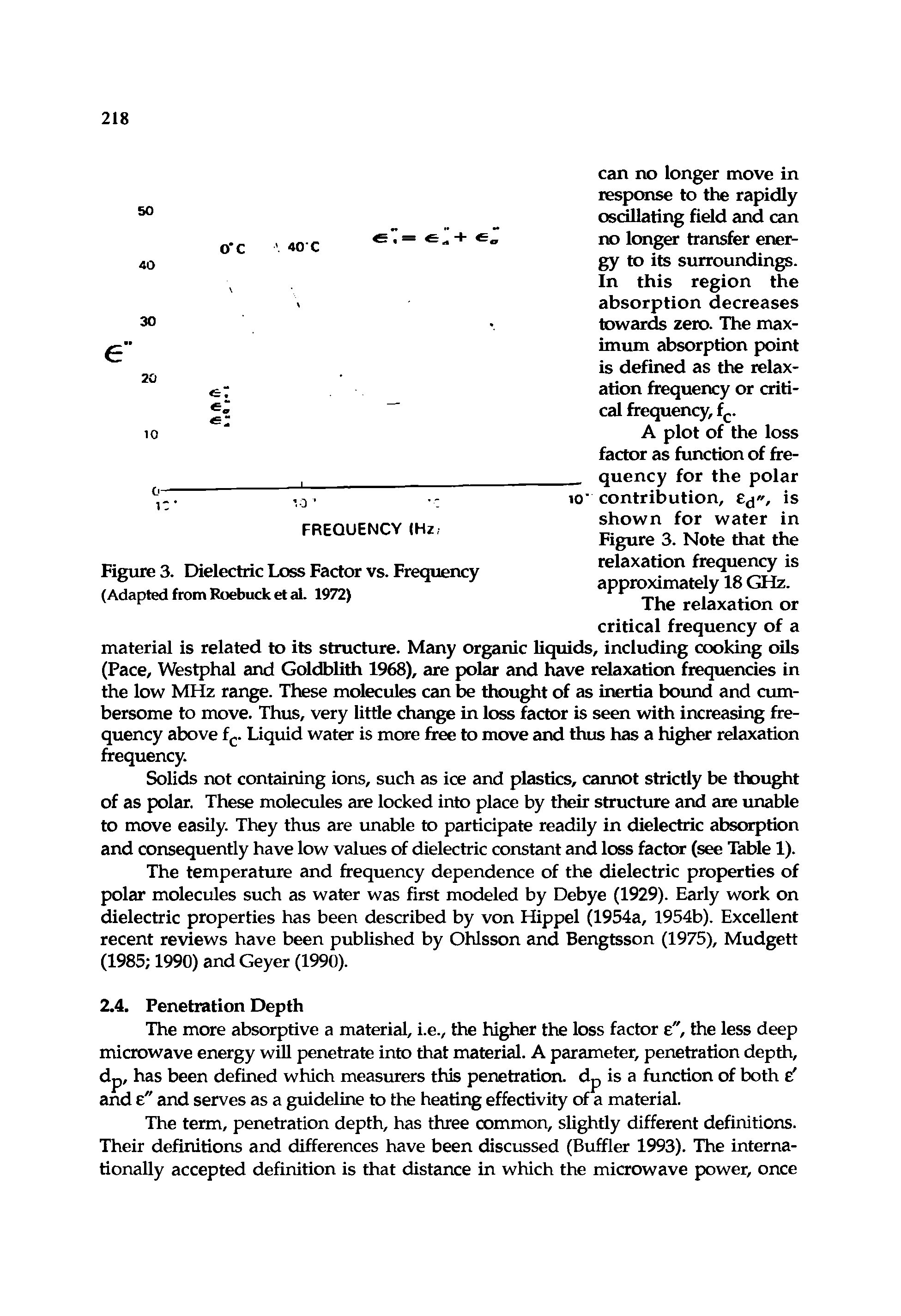 Figure 3. Dielectric Loss Factor vs. Frequency (Adapted from Roebuck et al. 1972)
