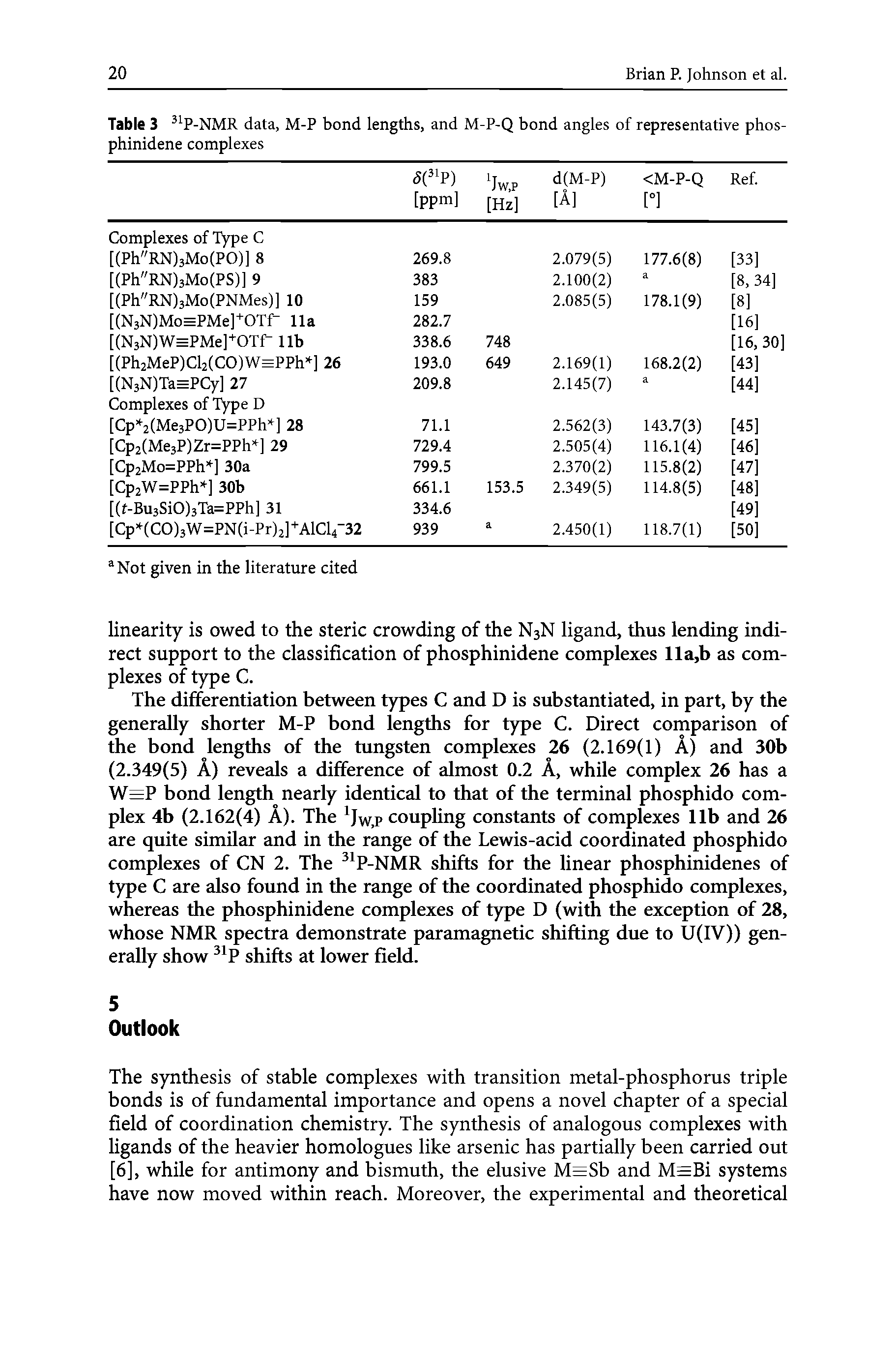 Table 3 P-NMR data, M-P bond lengths, and M-P-Q bond angles of representative phosphinidene complexes ...