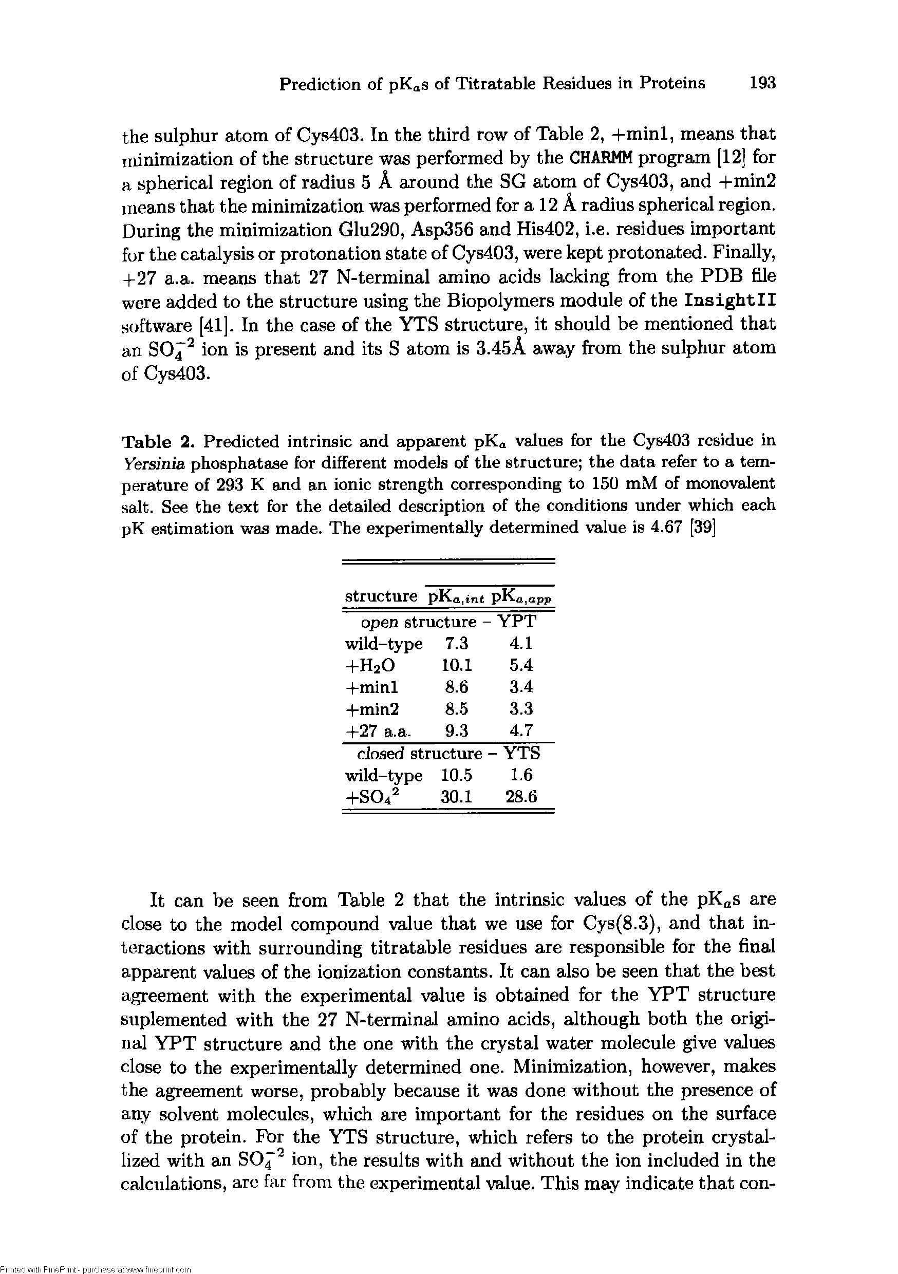 Table 2. Predicted intrinsic and apparent pKa values for the Cys403 residue in Yersinia phosphatase for different models of the structure the data refer to a temperature of 293 K and an ionic strength corresponding to 150 mM of monovalent salt. See the text for the detailed description of the conditions under which each pK estimation was made. The experimentally determined value is 4.67 [39]...