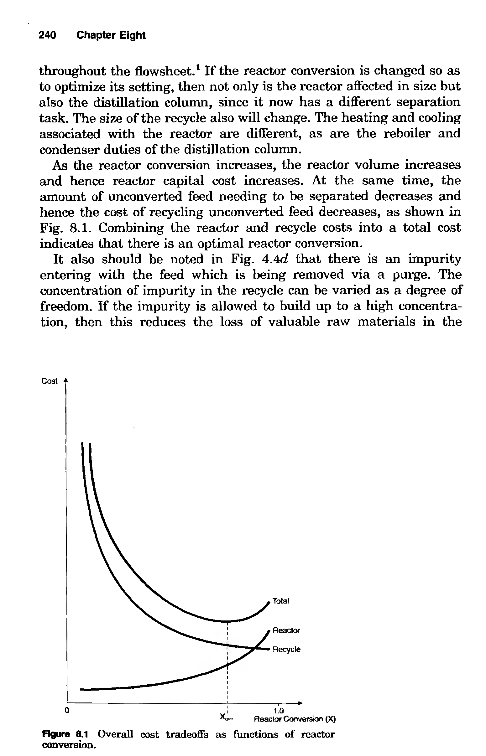 "Figure 8.1 <a href=""/info/overall_costs"">Overall cost</a> tradeoffs as functions of reactor conversion."