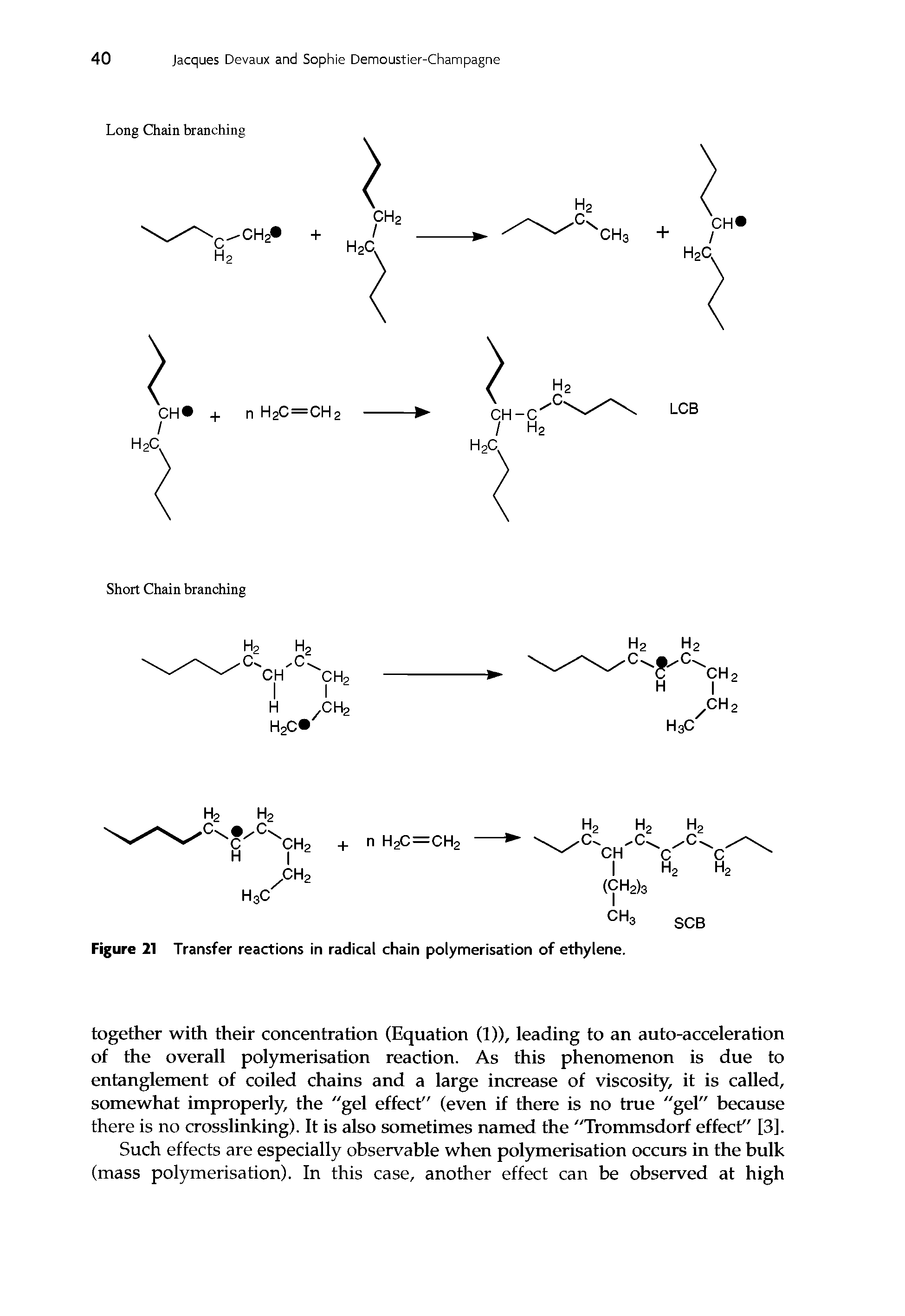 "Figure 21 <a href=""/info/ion_transfer_reactions"">Transfer reactions</a> in <a href=""/info/chain_radical"">radical chain</a> polymerisation of ethylene."