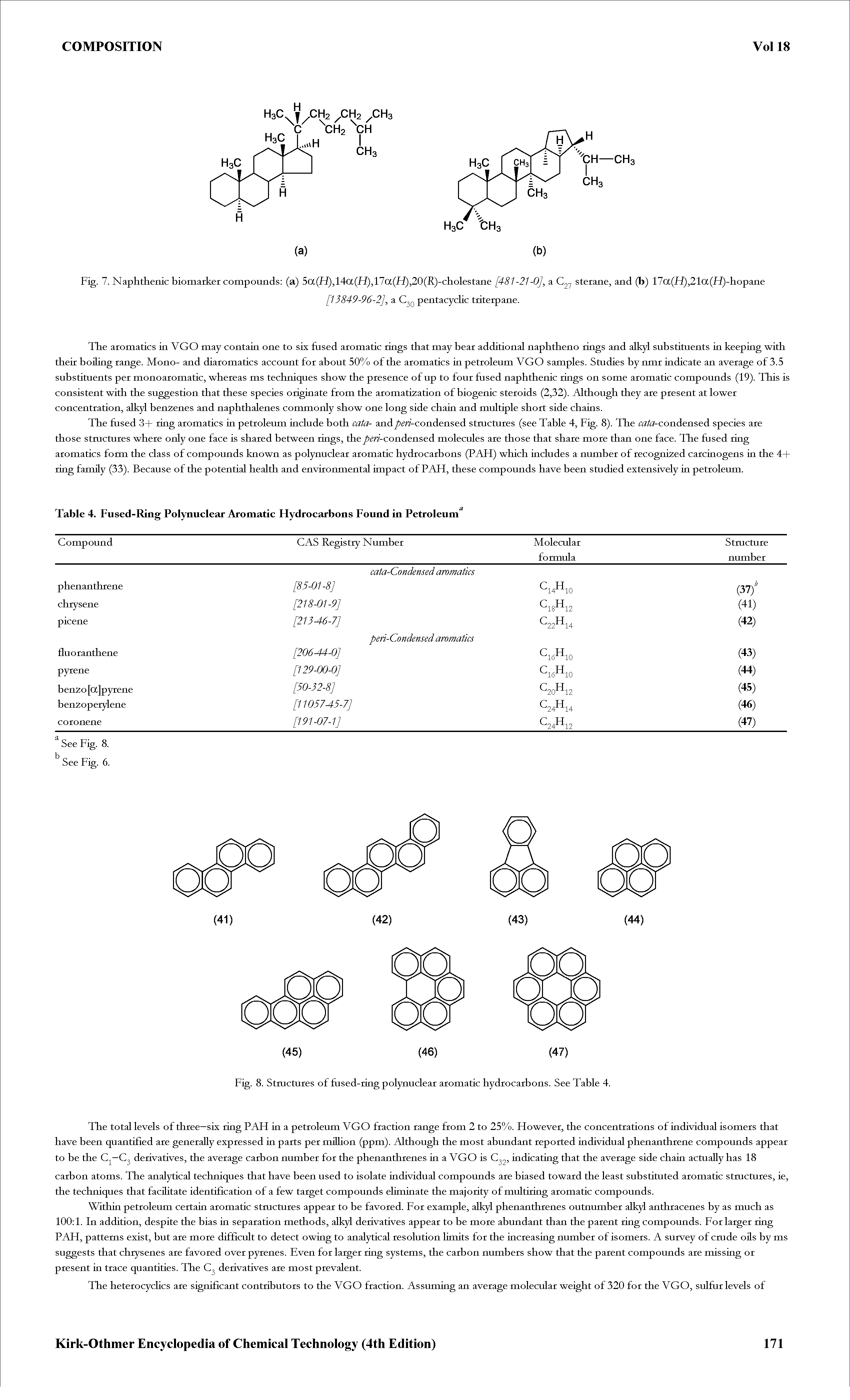 "Fig. 8. Stmctures of <a href=""/info/fused_rings"">fused-ring</a> <a href=""/info/polynuclear_aromatic_hydrocarbons"">polynuclear aromatic hydrocarbons</a>. See Table 4."