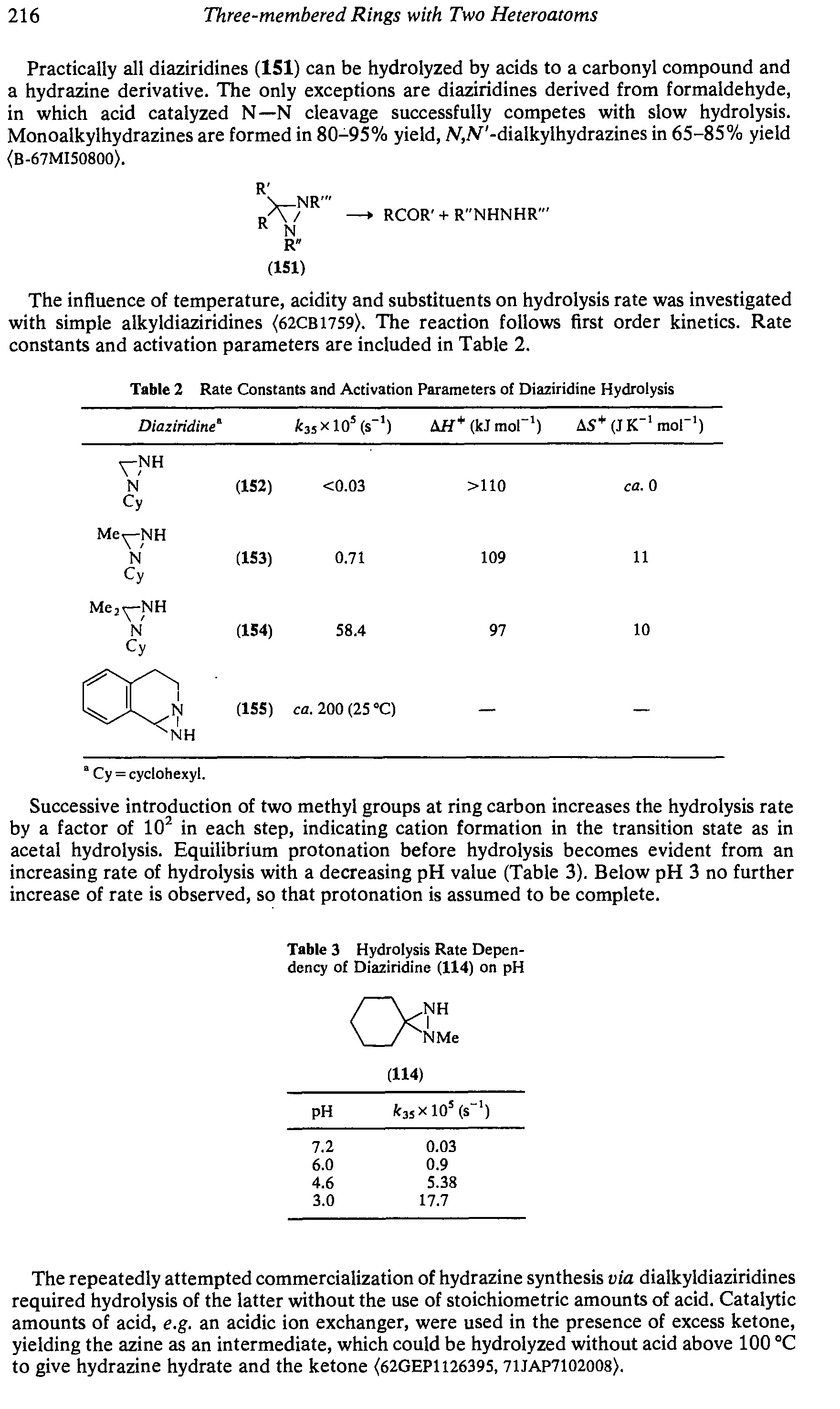 "Table 2 <a href=""/info/rate_constant"">Rate Constants</a> and Activation Parameters of Diaziridine Hydrolysis"
