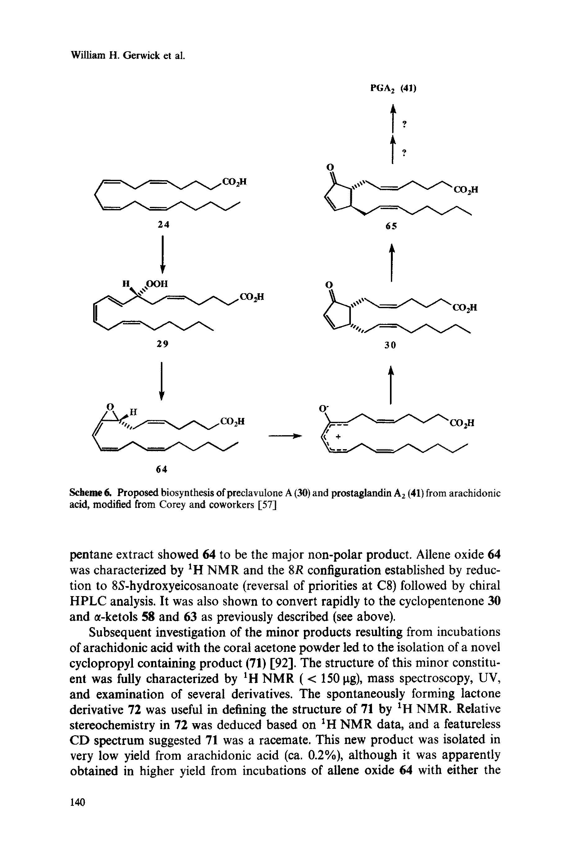 "Scheme 6. Proposed biosynthesis of preelavulone A (30) and prostaglandin A2 (41) from <a href=""/info/arachidonic_acid"">arachidonic acid</a>, modified from Corey and coworkers [57]"