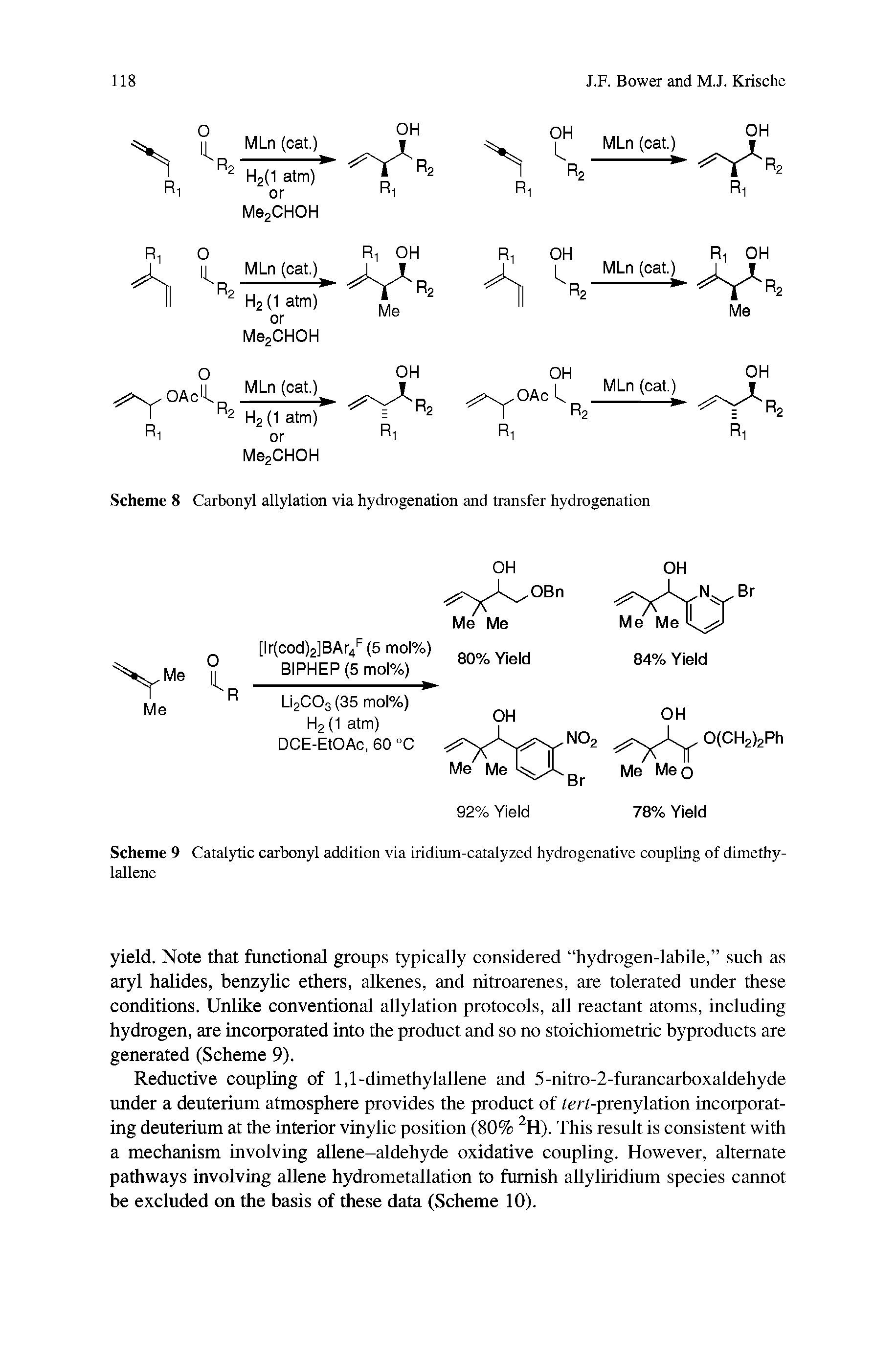 "Scheme 8 <a href=""/info/carbonyl_allylations"">Carbonyl allylation</a> via hydrogenation and transfer hydrogenation"