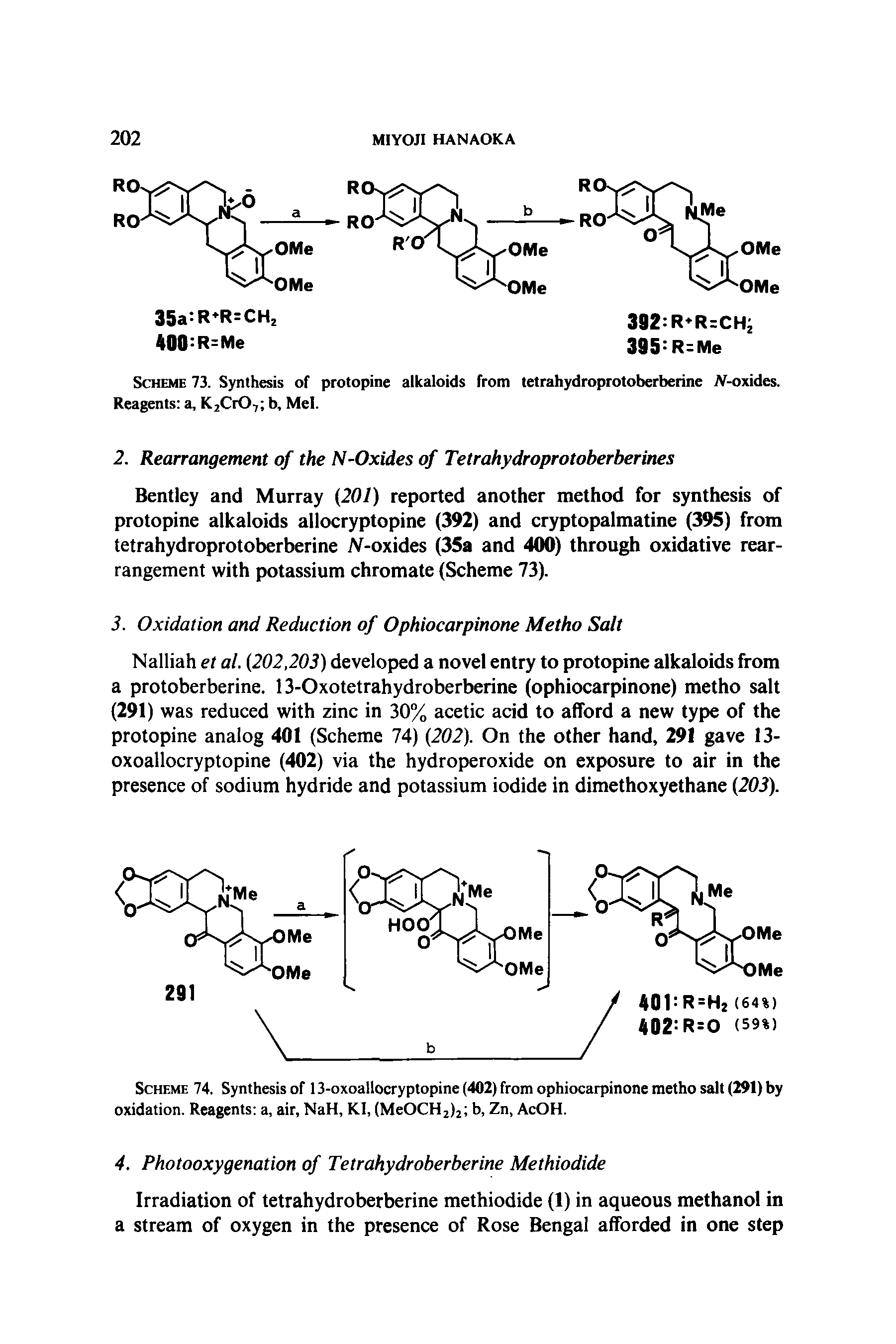 Scheme 73. Synthesis of protopine alkaloids from tetrahydroprotoberberine JV-oxides. Reagents a, K2Cr07 b, Mel.