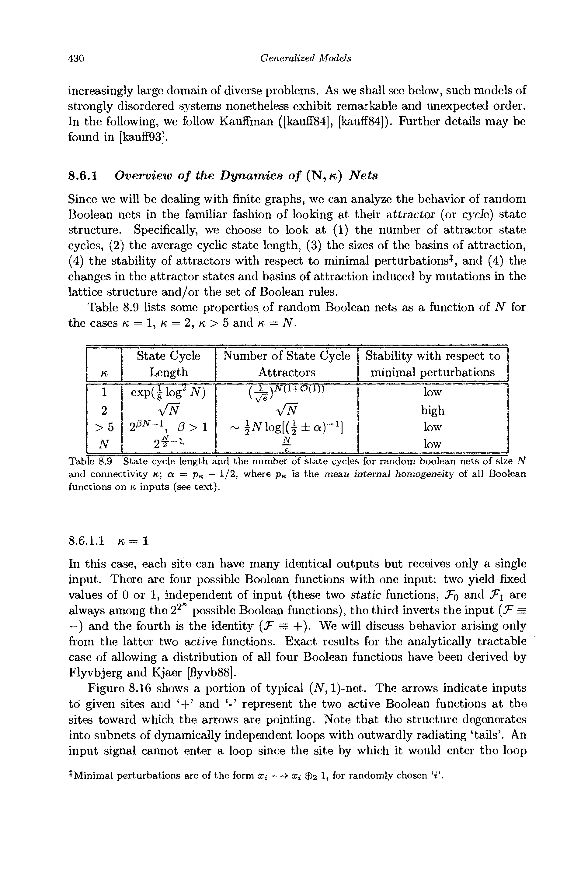 Table 8.9 State cycle length and the number of state cycles for random boolean nets of size N and connectivity k a = pn — 1/2, where Pk is the mean internal homogeneity of all Boolean functions on K inputs (see text).