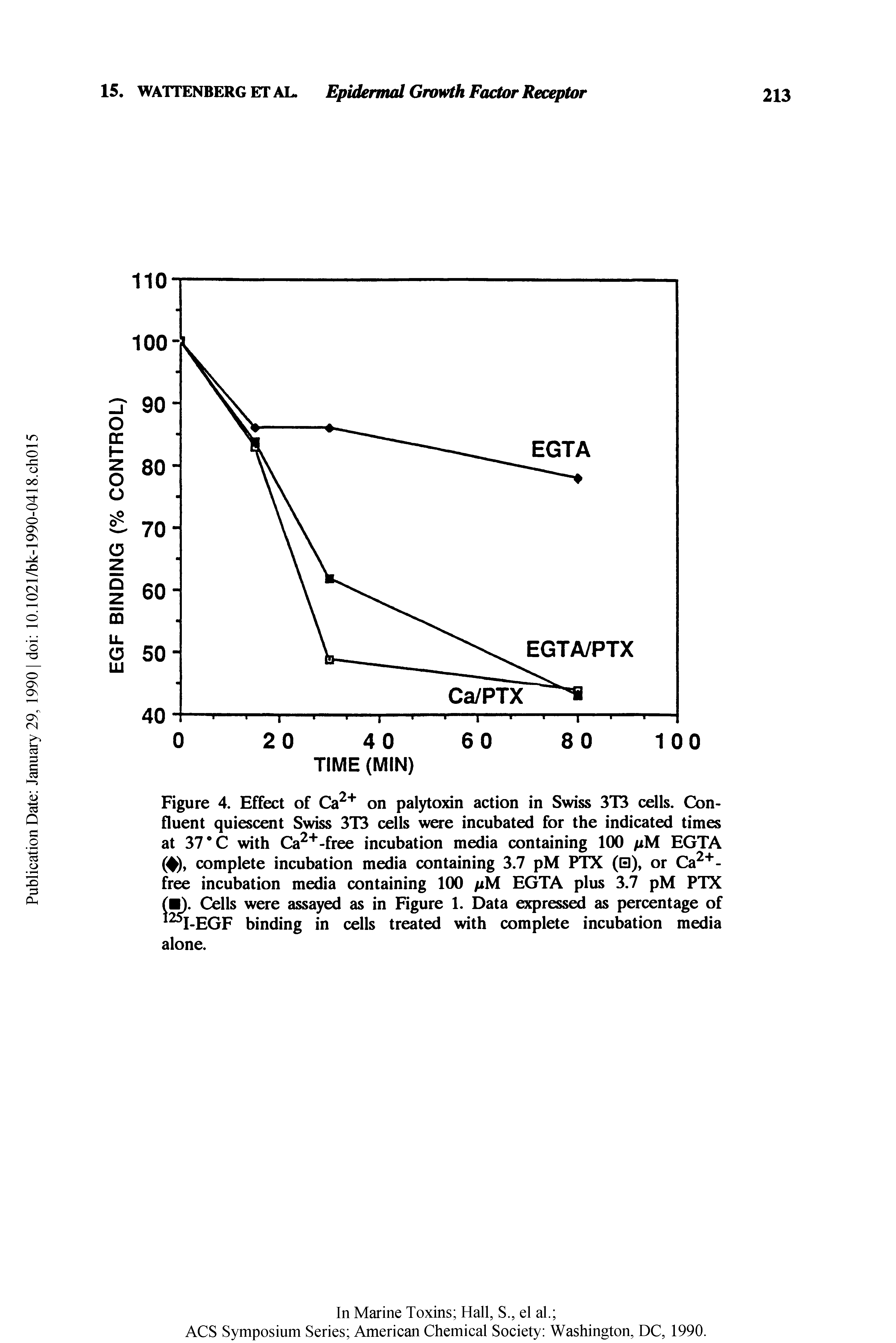Figure 4. Effect of Ca on palytoxin action in Swiss 3T3 cells. Confluent quiescent Swiss 3T3 cells were incubated for the indicated times at 37 C with Ca -free incubation media containing 100 pM EGTA (4), complete incubation media containing 3.7 pM PTX (0), or Ca -free incubation media containing 100 pM EGTA plus 3.7 pM PTX Cells were assayed as in Figure 1. Data expressed as percentage of I-EGF binding in cells treated with complete incubation media alone.