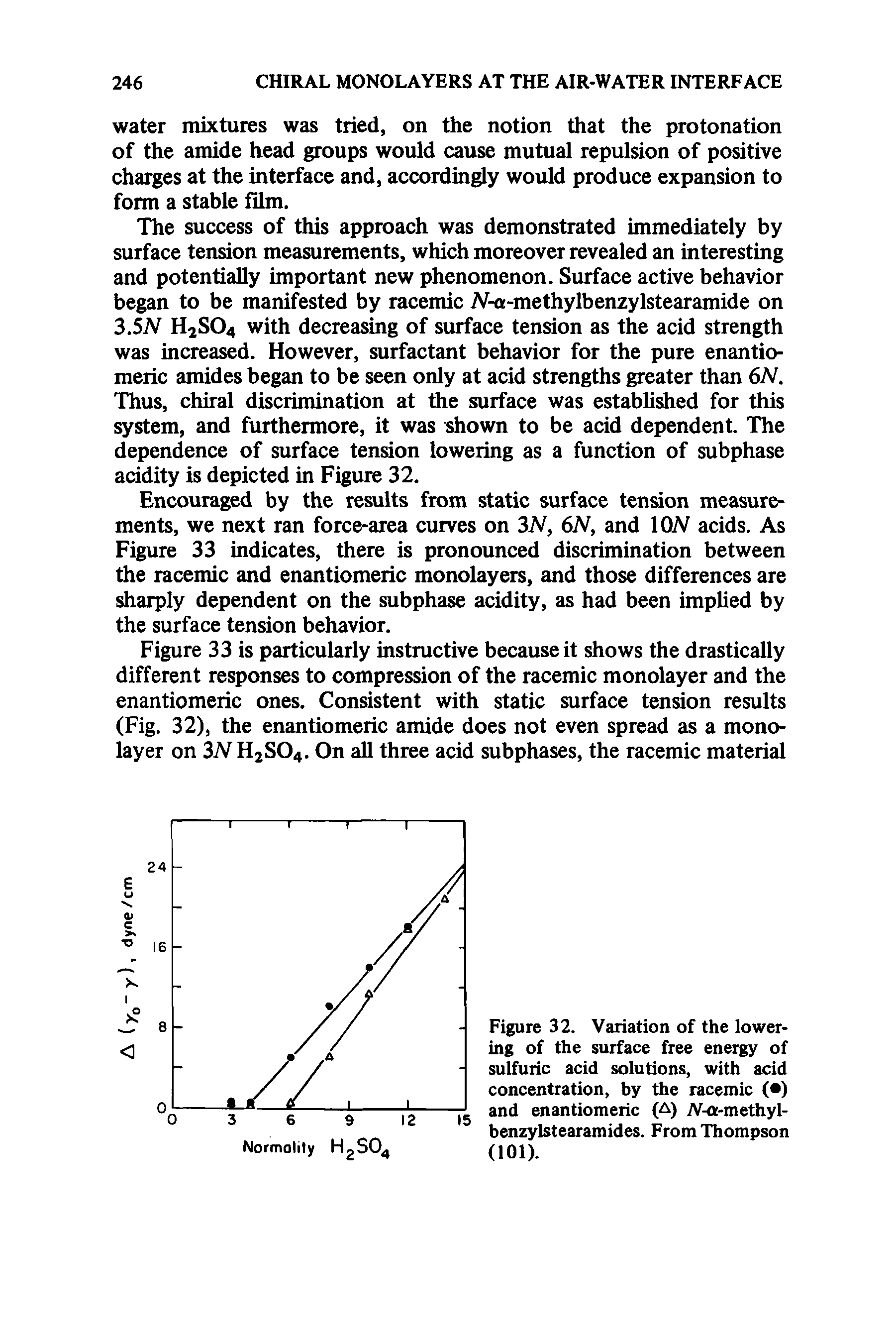 "Figure 32. Variation of the lowering of the <a href=""/info/free_energy_surface"">surface free energy</a> of sulfuric acid solutions, <a href=""/info/with_acid"">with acid</a> concentration, by the racemic ( ) and enantiomeric (A) -a-methyl-benzylstearamides. From Thompson (101)."