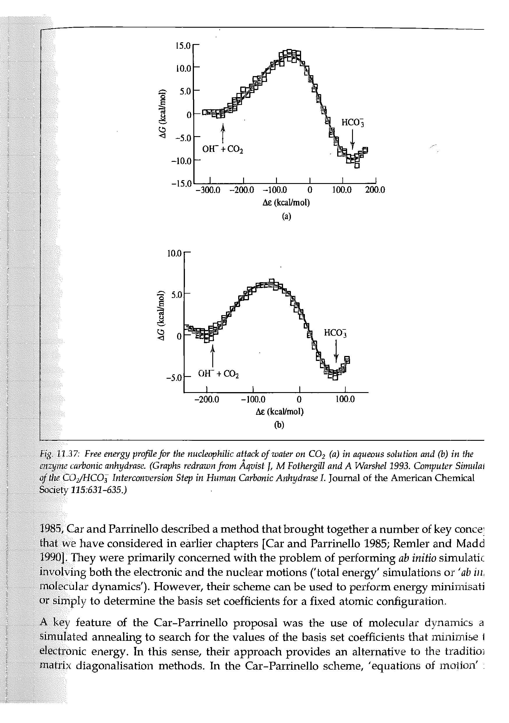 Fig. 11.37 Free energy profile for the nucleophilic attack of water on CO2 (a) in aqueous solution and (b) in the enzyme carbonic anhydrase. (Graphs redrawn from Aqvist J, M Fothergill and A Warshel 1993. Computer Simulai of the COj/HCOf Interconversion Step in Human Carbonic Anhydrase I. Journal of the American Chemical Society 115 631-635.)...