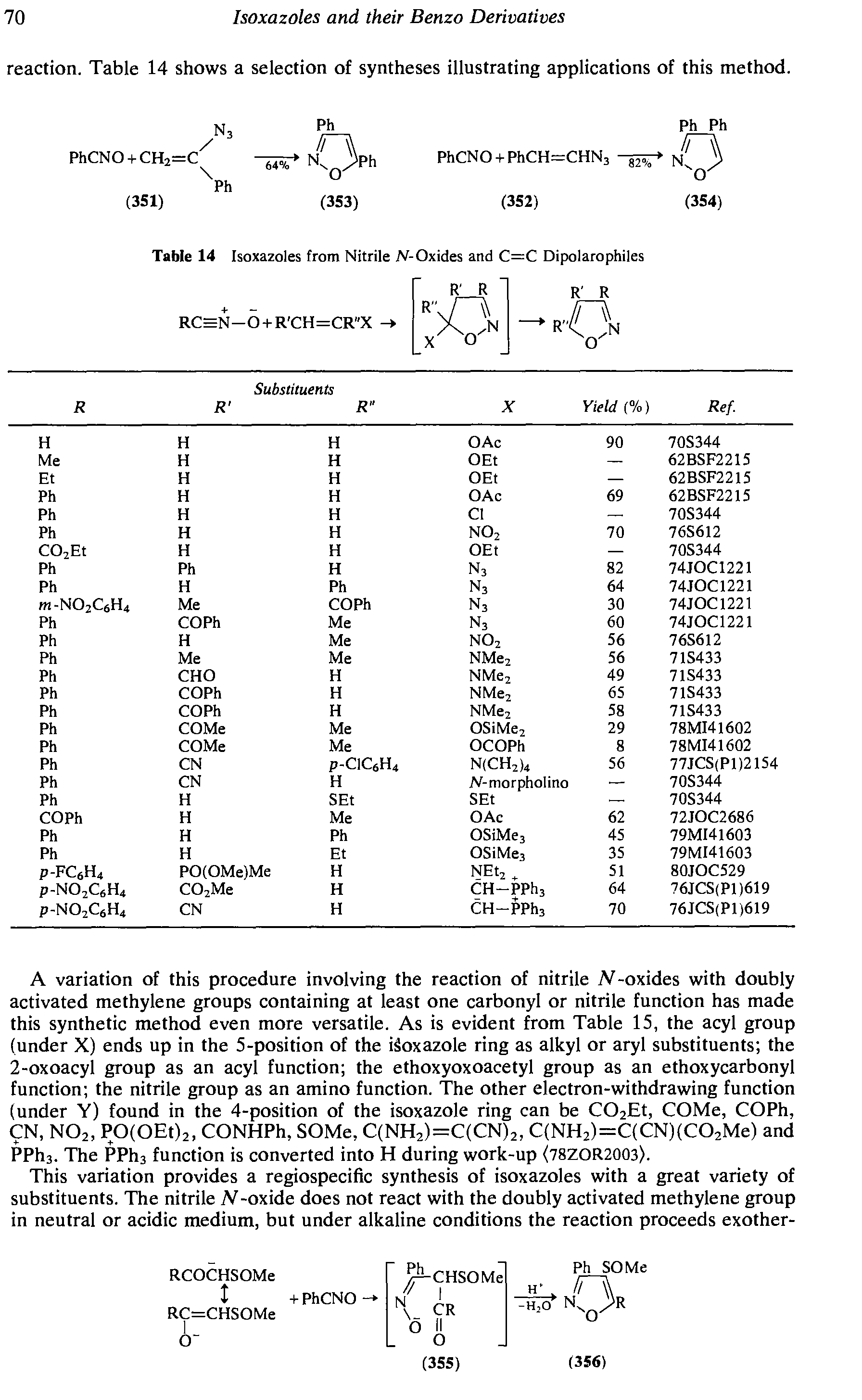 "Table 14 <a href=""/info/from_isoxazoles"">Isoxazoles from</a> Nitrile N-Oxides and C=C Dipolarophiles"