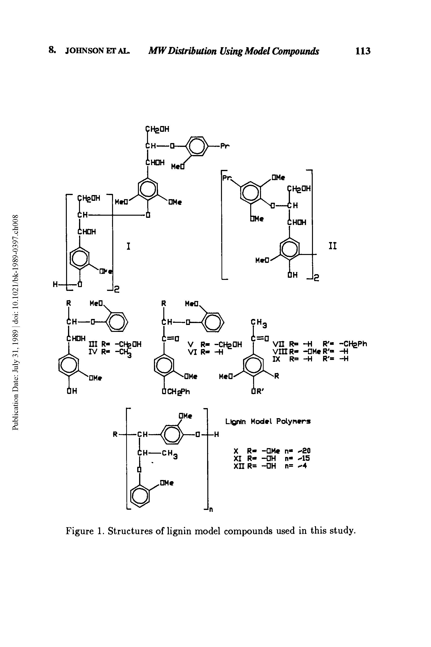 "Figure 1. Structures of <a href=""/info/lignin_model_compounds"">lignin model compounds</a> used in this study."