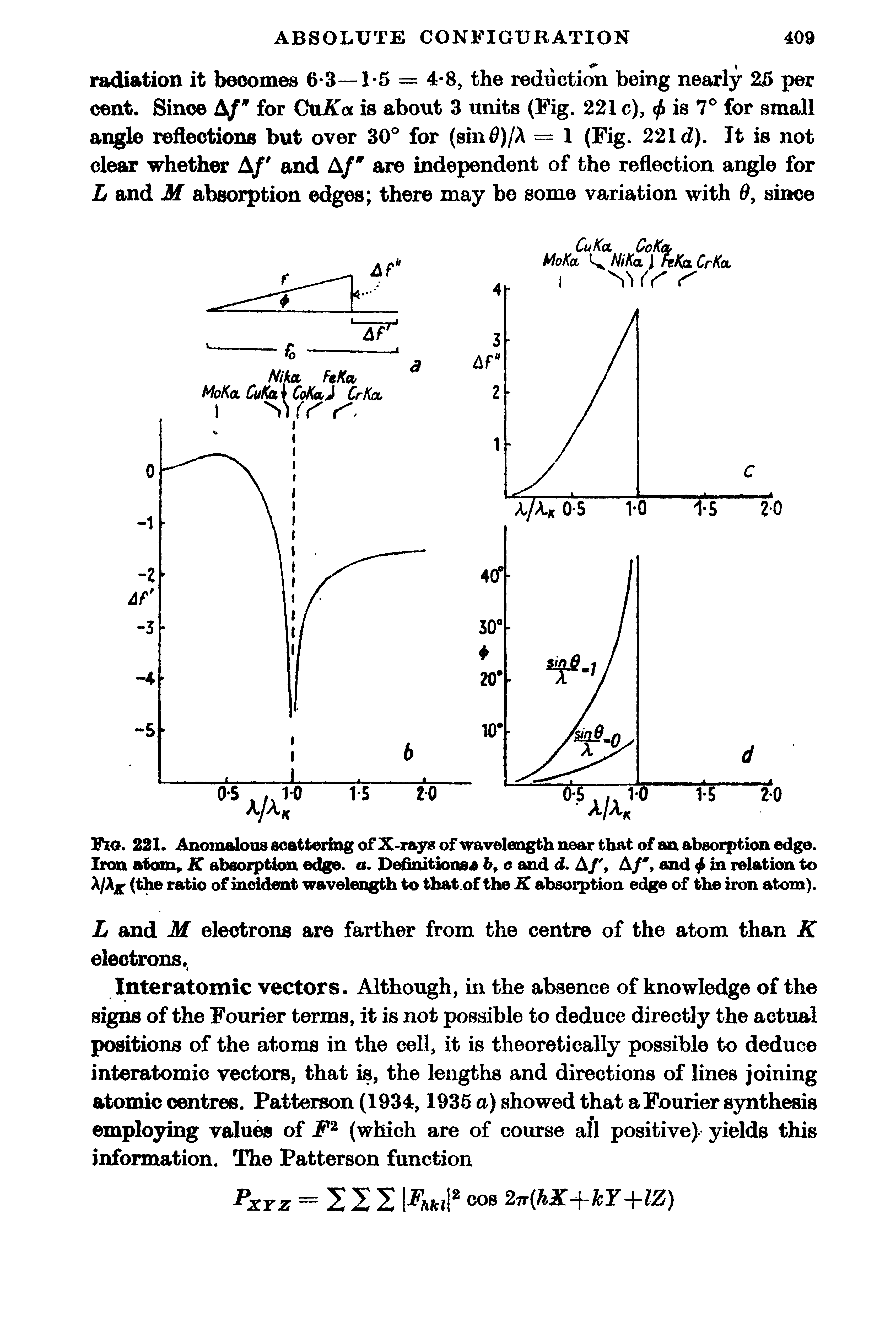 Fig. 221. Anomalous scattering of X-rays of wavelength near that of an absorption edge. Iron atom,. K absorption edge, a. Definitions4 6, o and d. A/, A/, and 4 in relation to A/Ajp (the ratio of incident wavelength to that. of the K absorption edge of the iron atom).